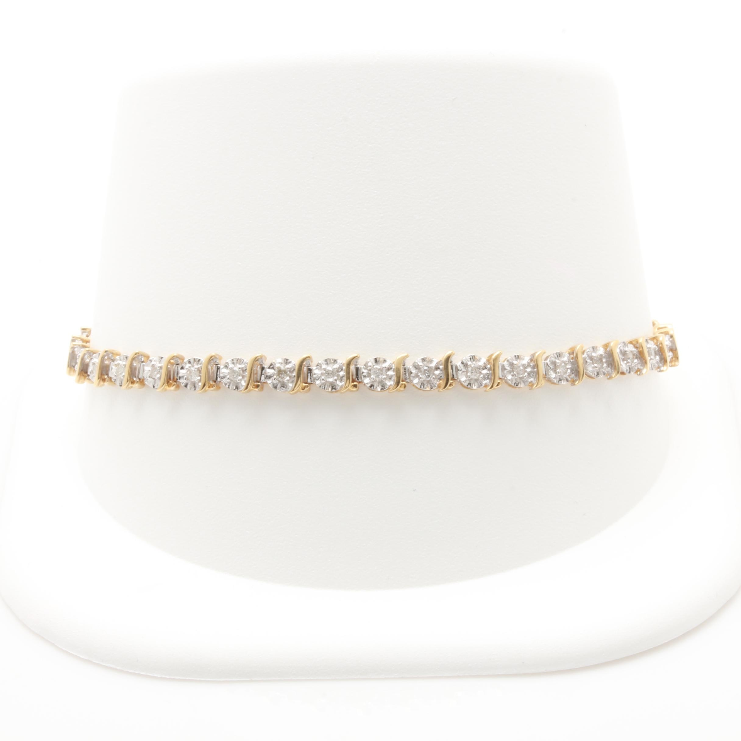 10K Yellow and White Gold Diamond Bracelet
