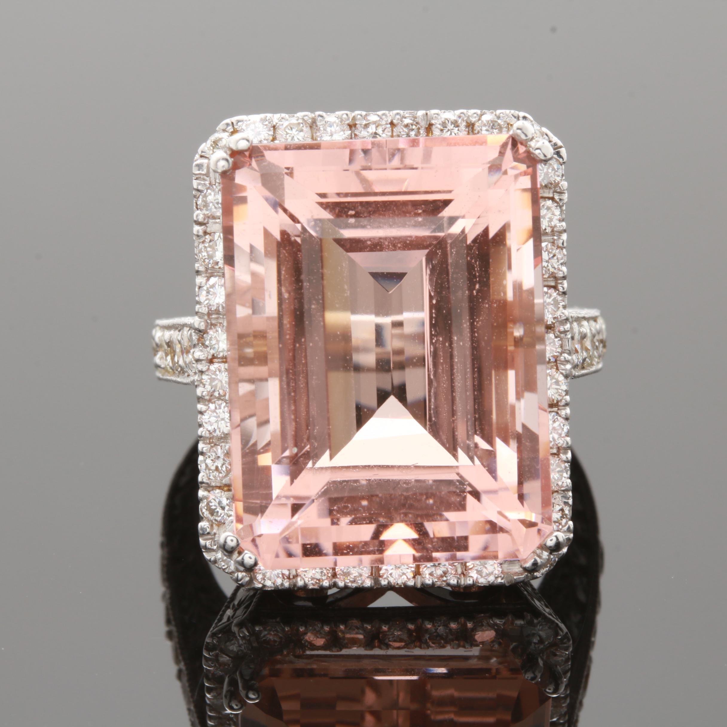 18K White Gold 21.27 CT Morganite and 1.22 CTW Diamond Ring