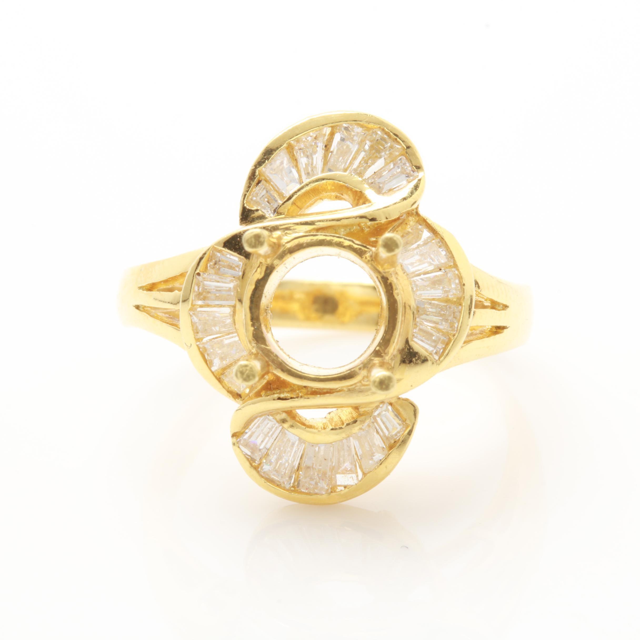 18K Yellow Gold Diamond Ring Mounting