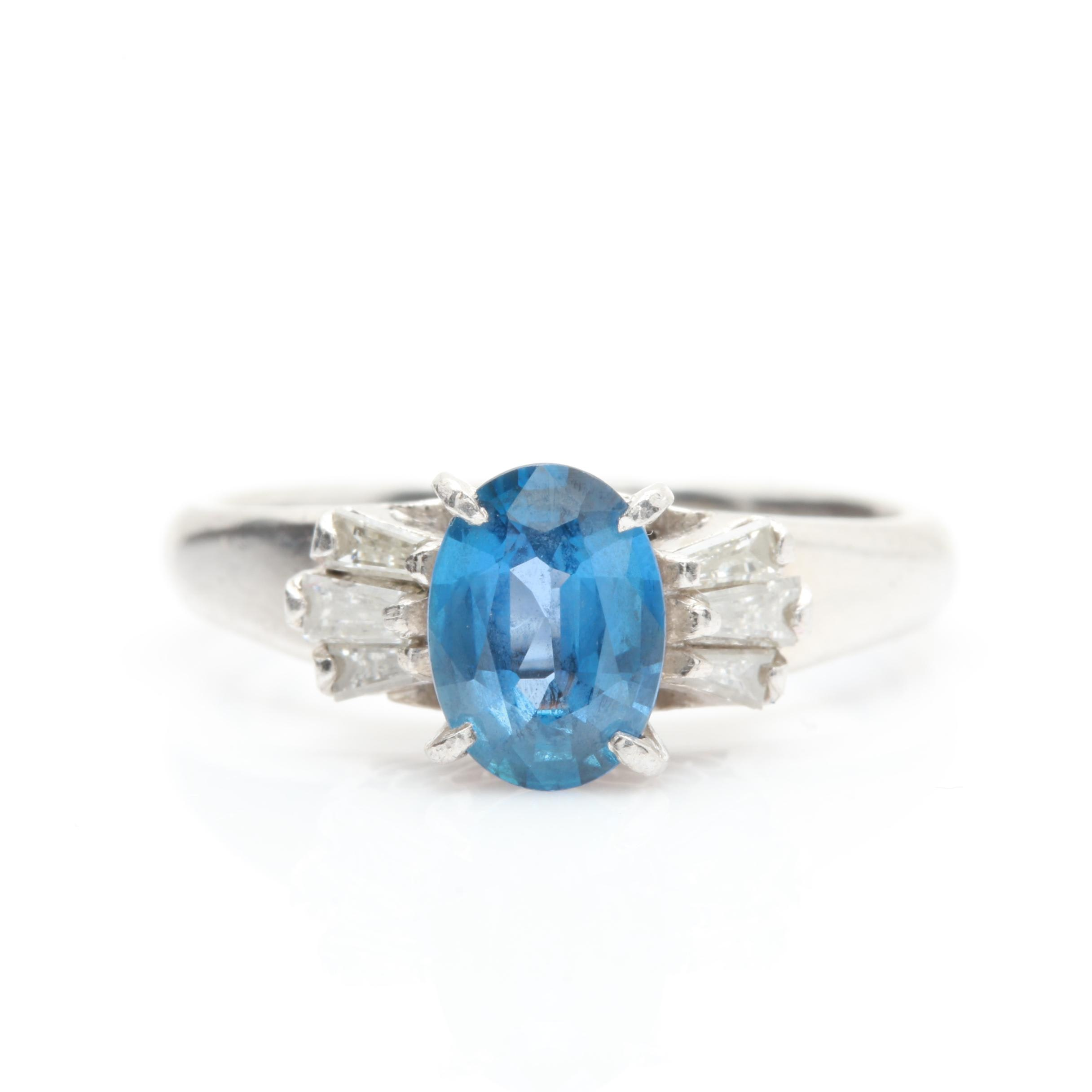 Platinum 0.93 CT Sapphire and Diamond Ring