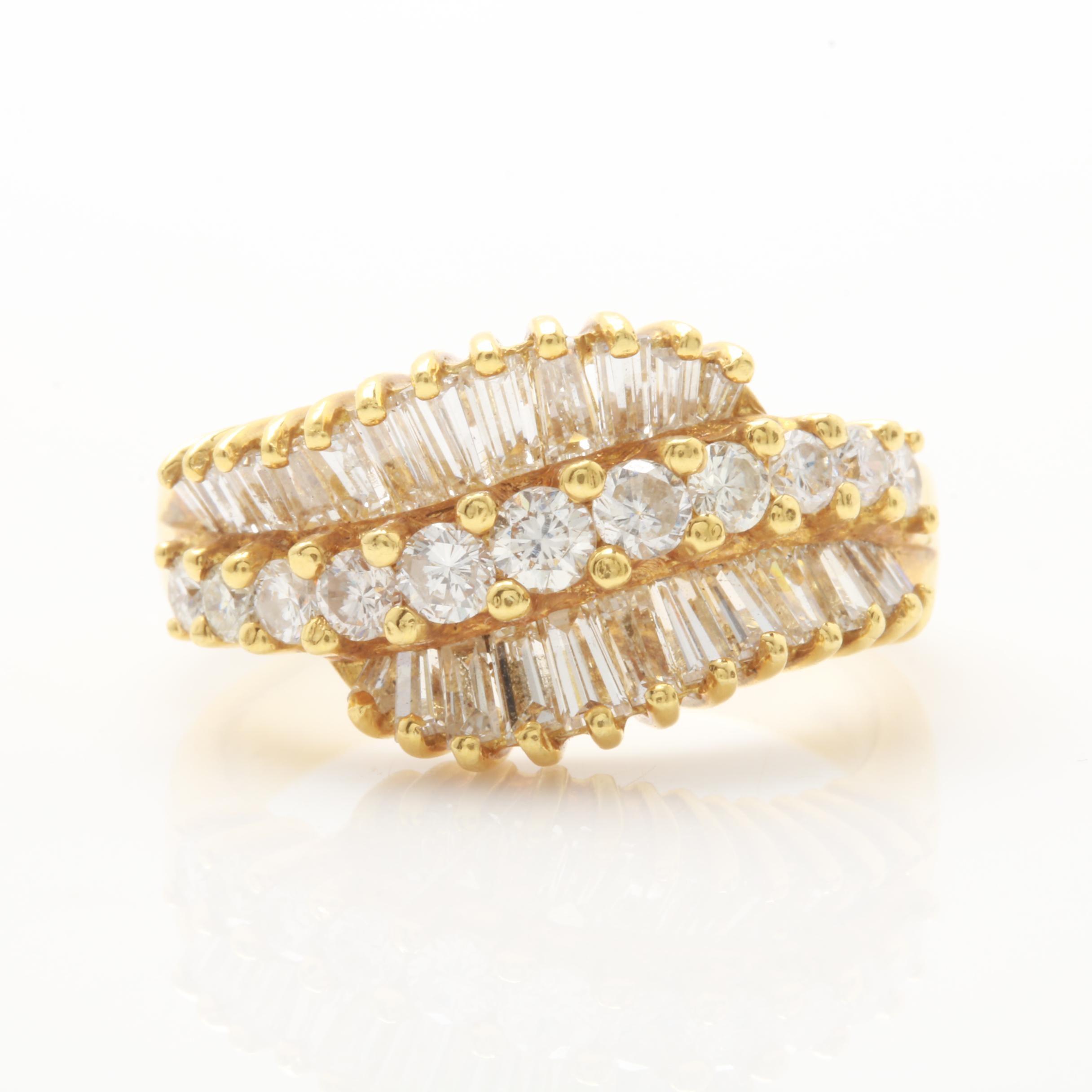18K Yellow Gold 1.66 CTW Diamond Ring