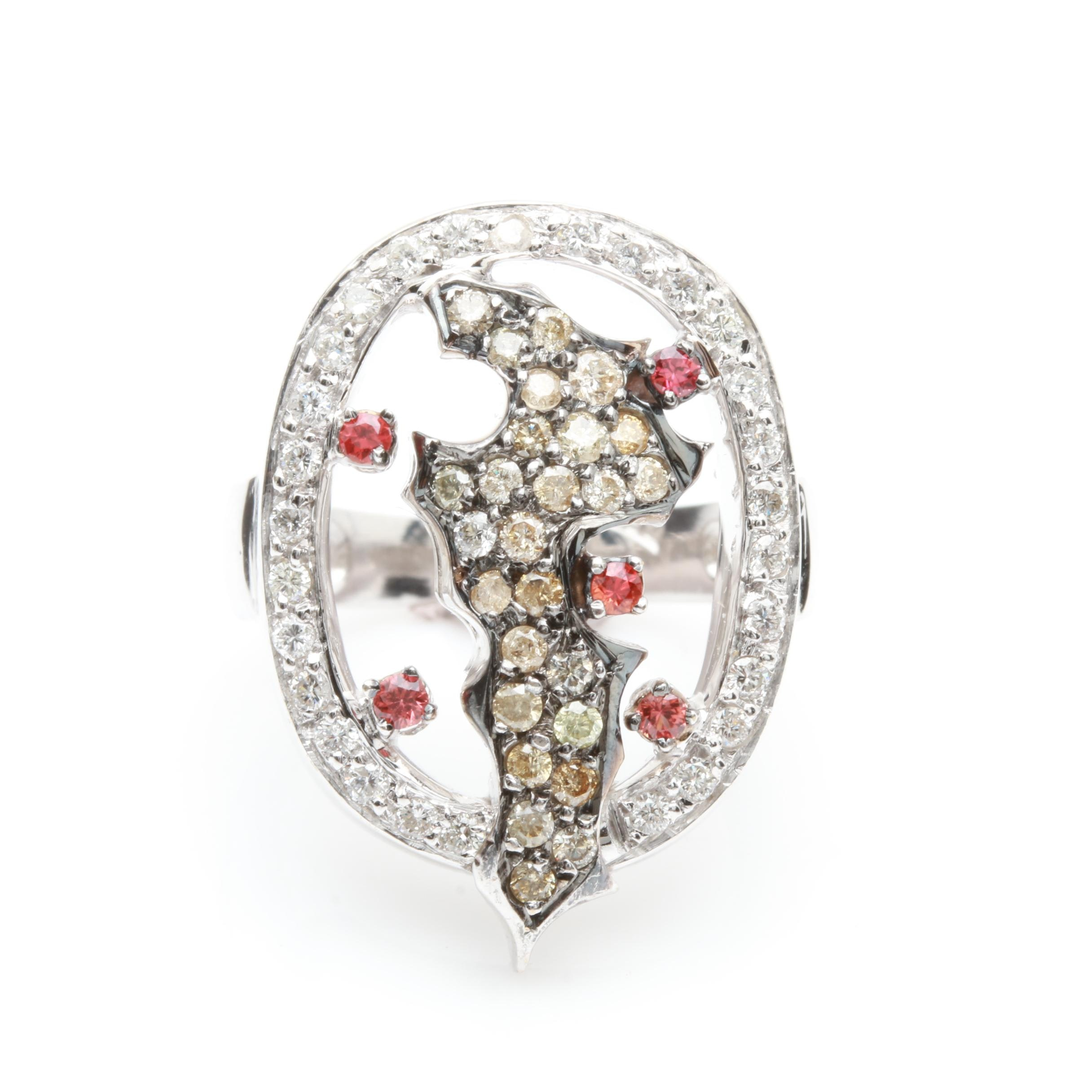 18K White Gold 0.90 CTW Diamond and Spinel Ring