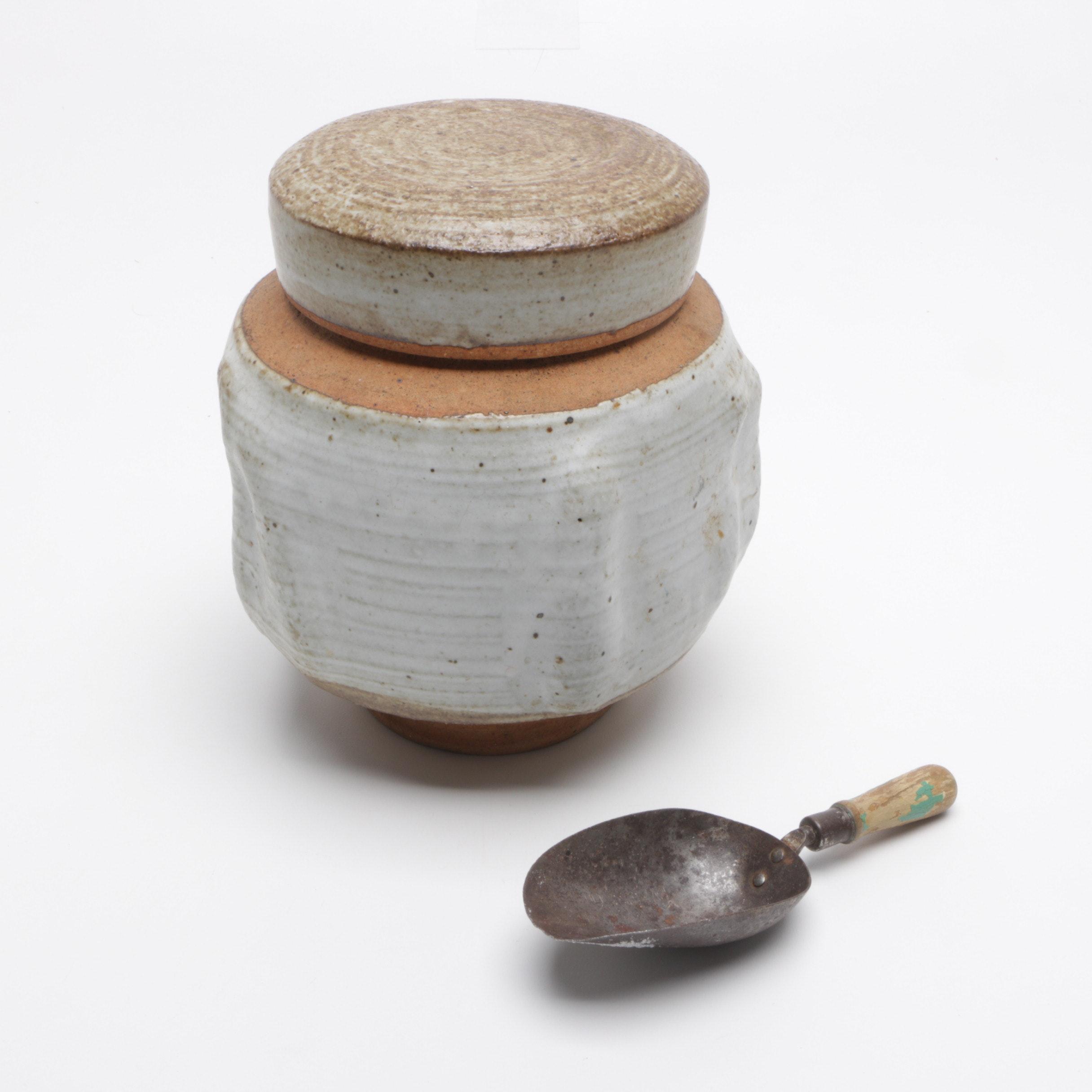 John Tuska Stoneware Sugar Bowl