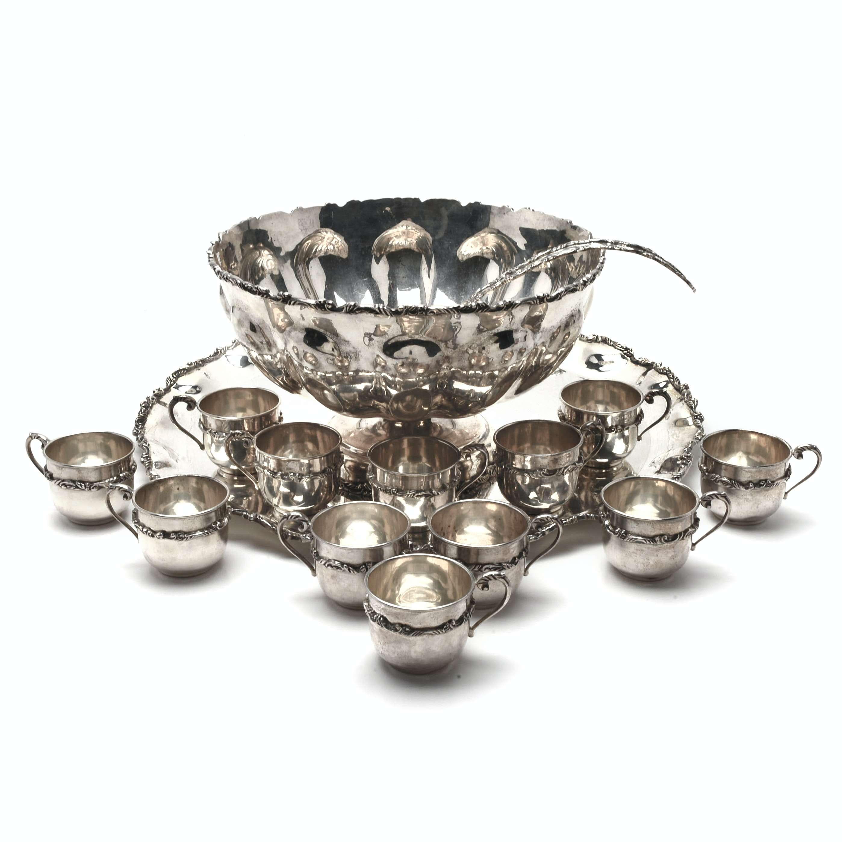 Mid-Century P. Lopez G Mexican Sterling Silver Punch Set