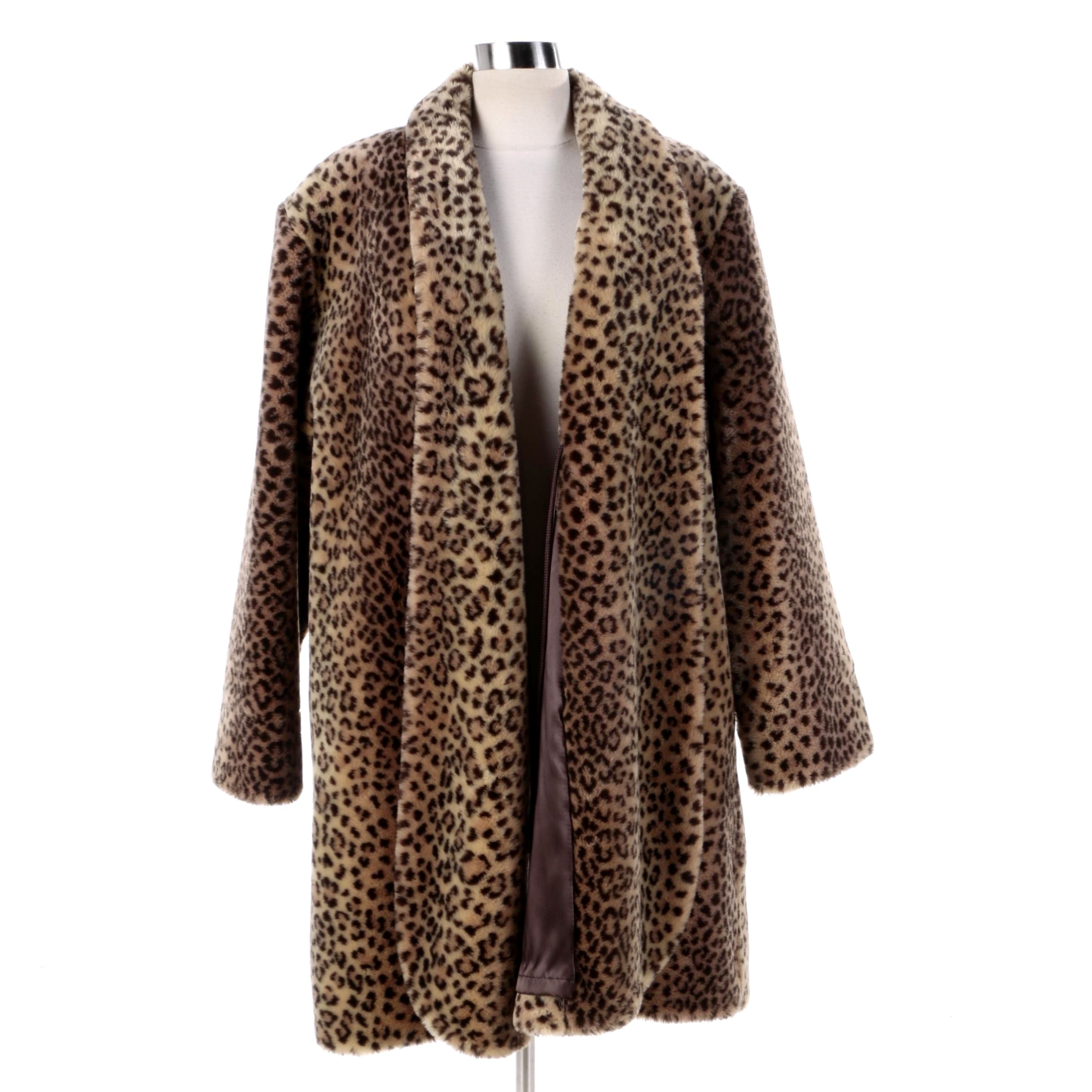 Women's J. Percy for Marvin Richards Leopard Print Faux Fur Coat