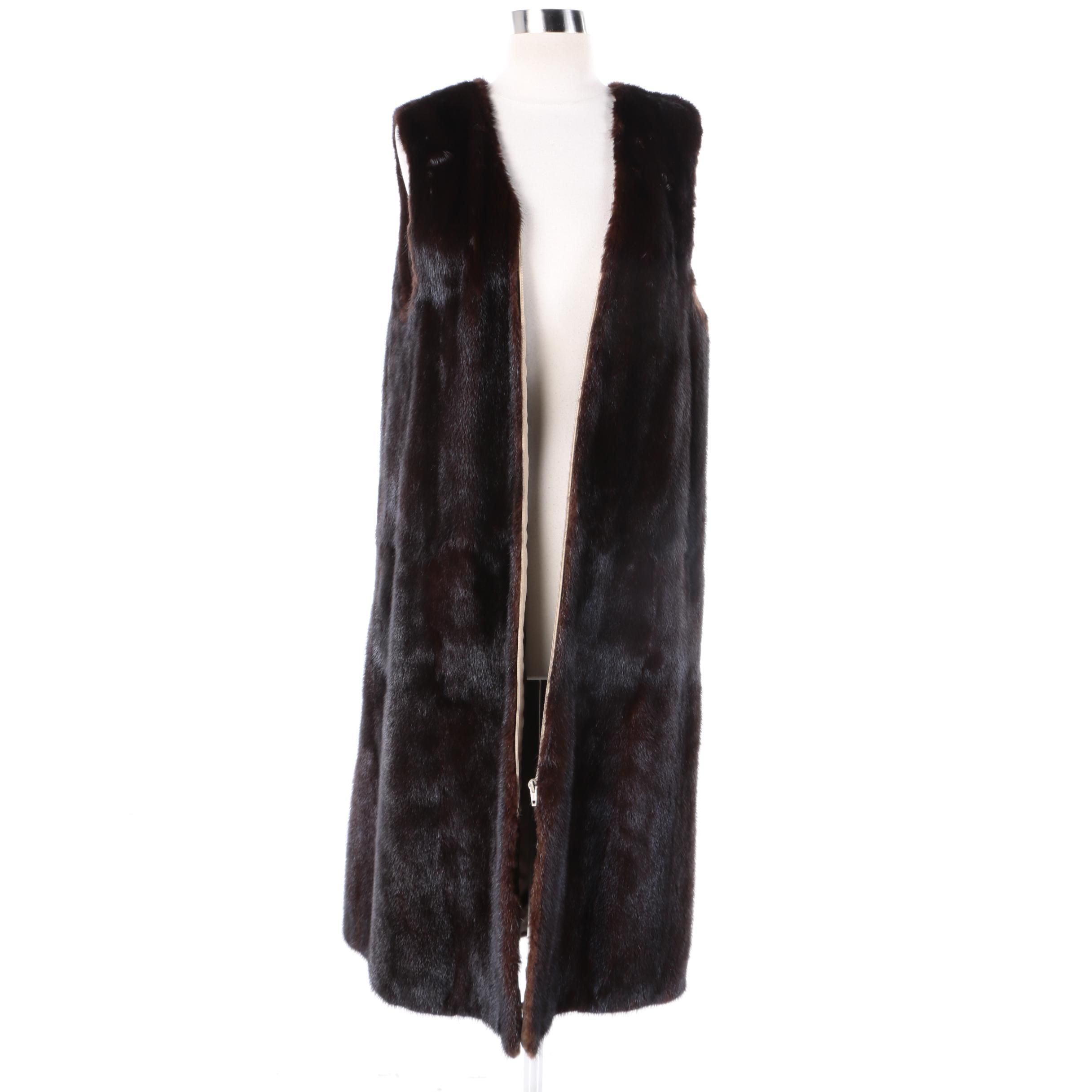Dark Mahogany Mink Fur Duster Vest or Coat Liner