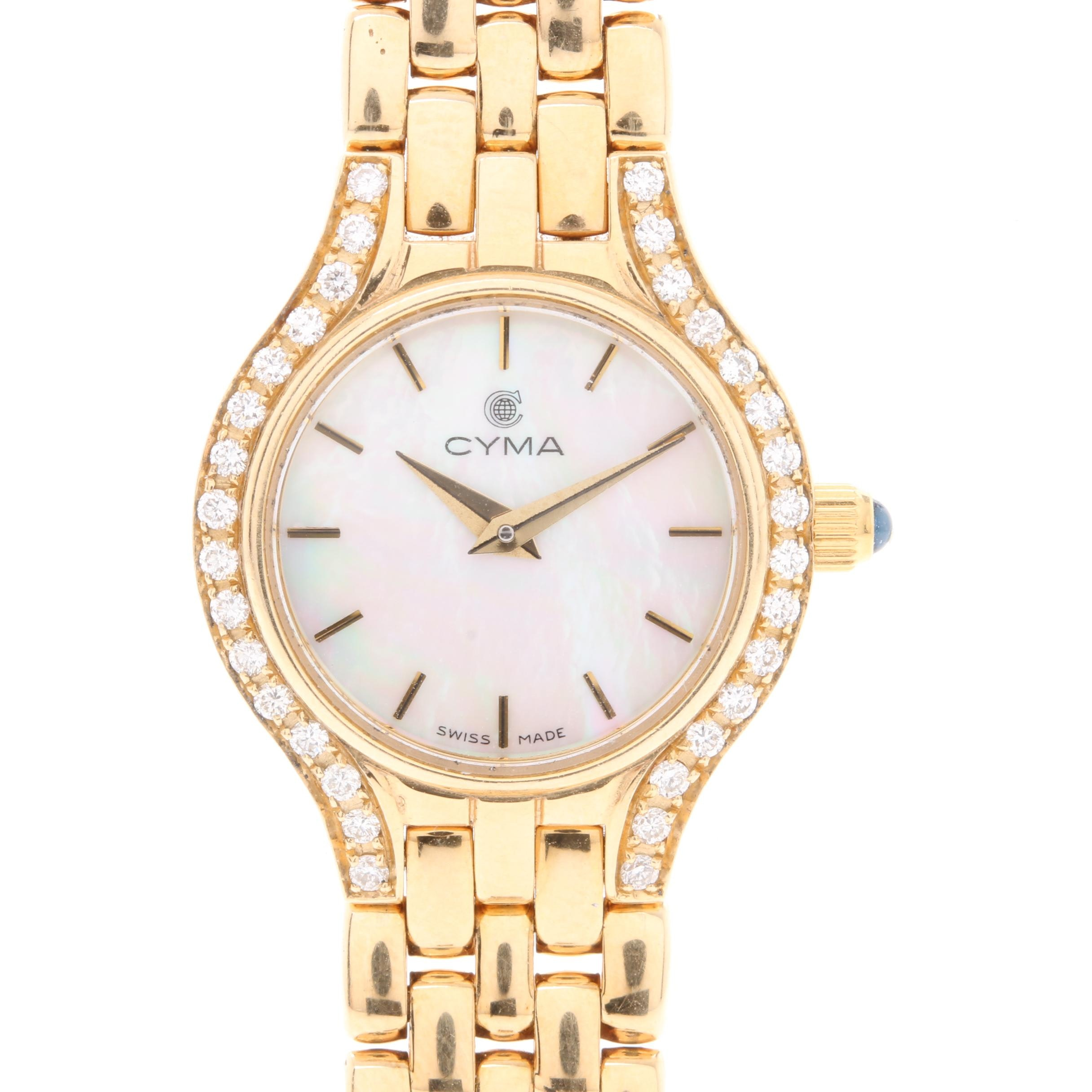 Cyma 14K Yellow Gold Mother of Pearl and Diamond Wristwatch