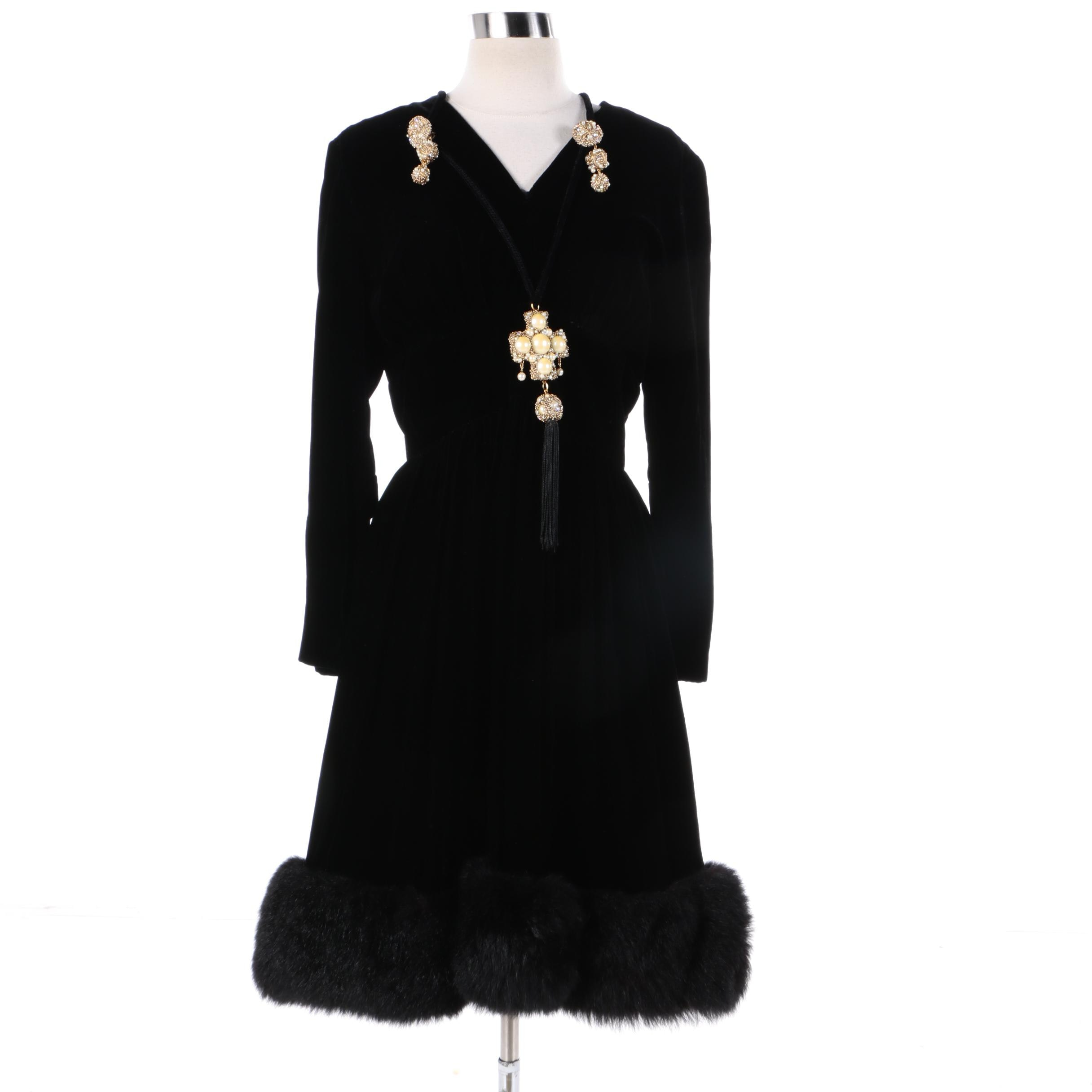 Vintage Lillie Rubin Black Velvet Dress with Dyed Australian Possum Fur Trim