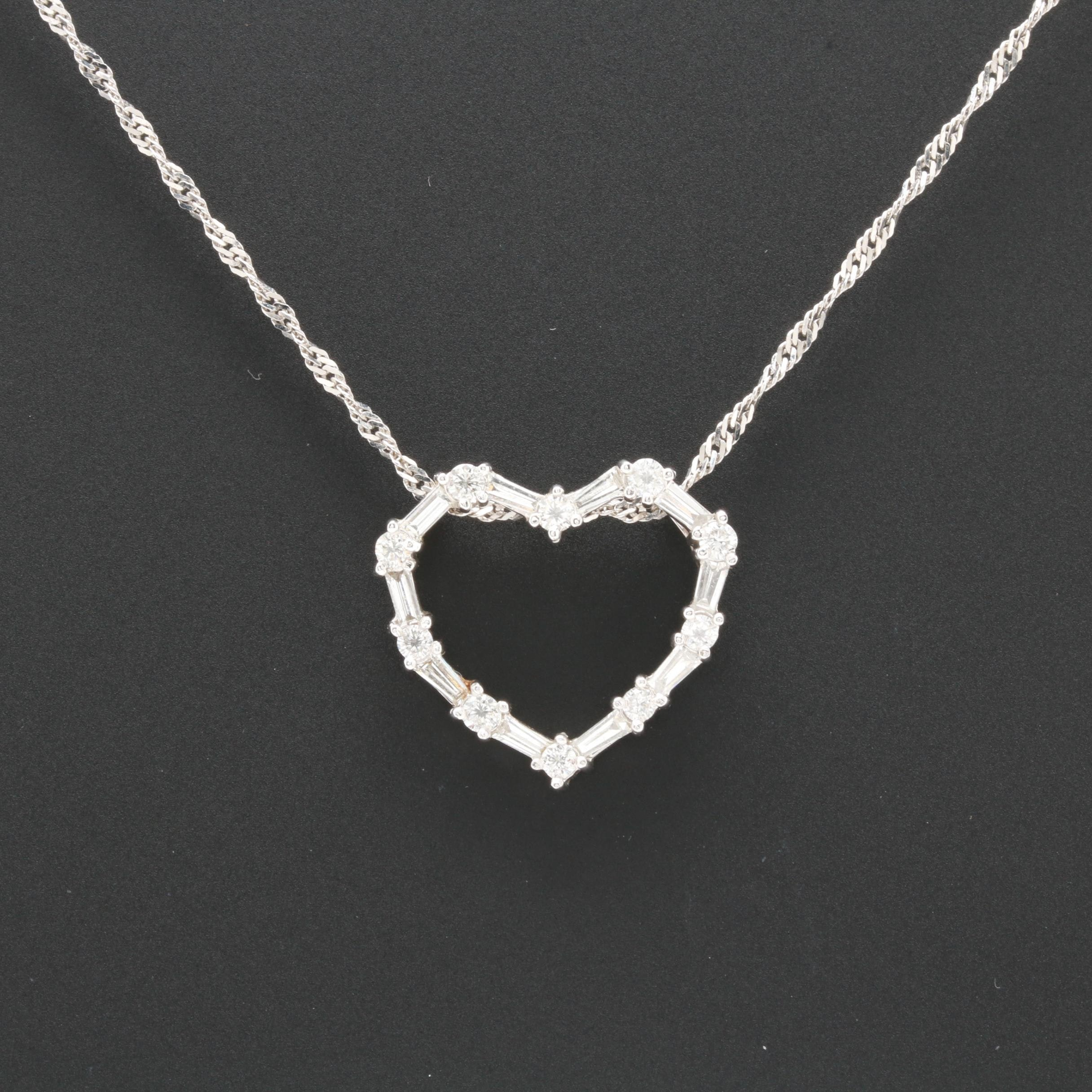 14K and 18K White Gold Diamond Heart Pendant Necklace