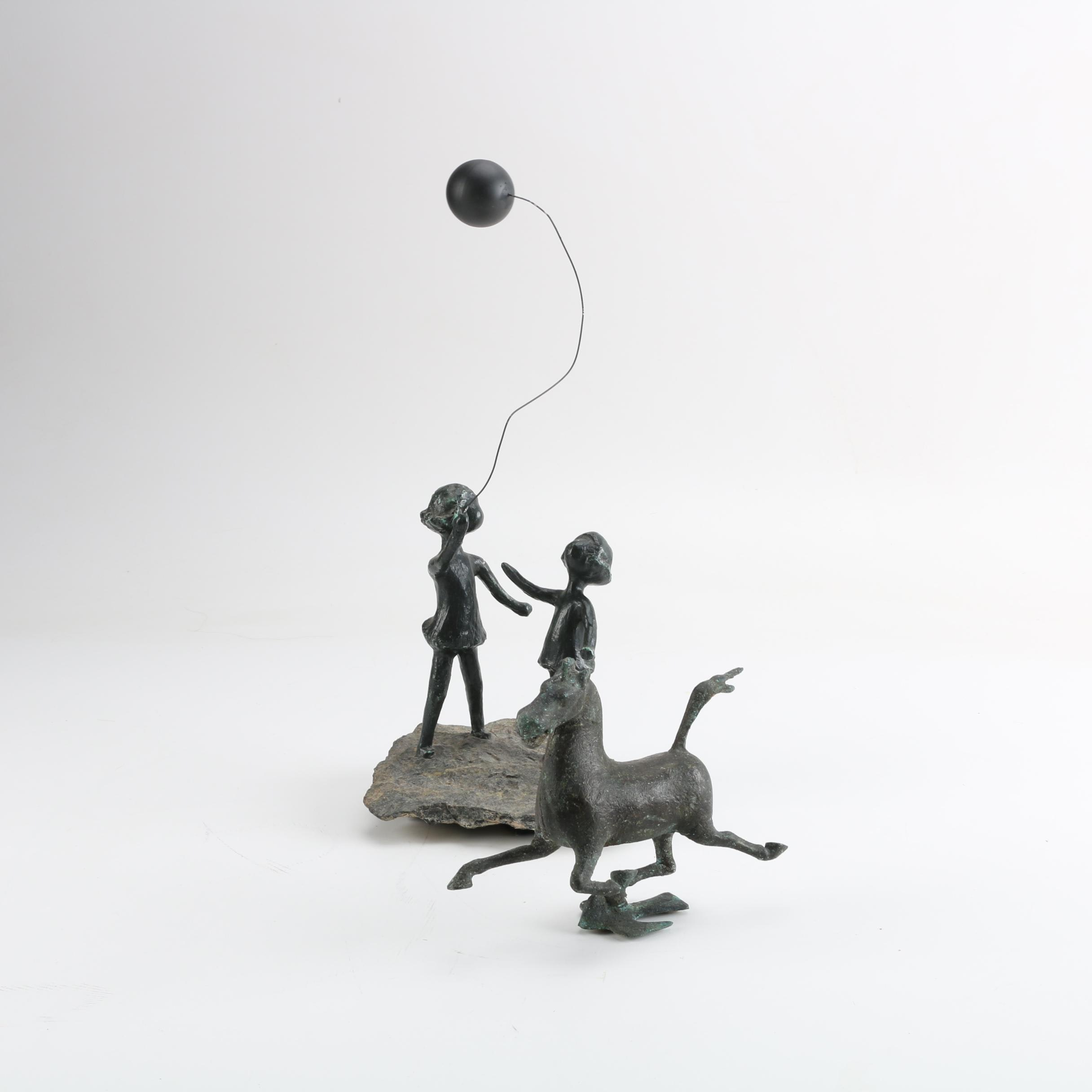 Cast Iron Children with Balloon Figurine and Galloping Horse Figurine