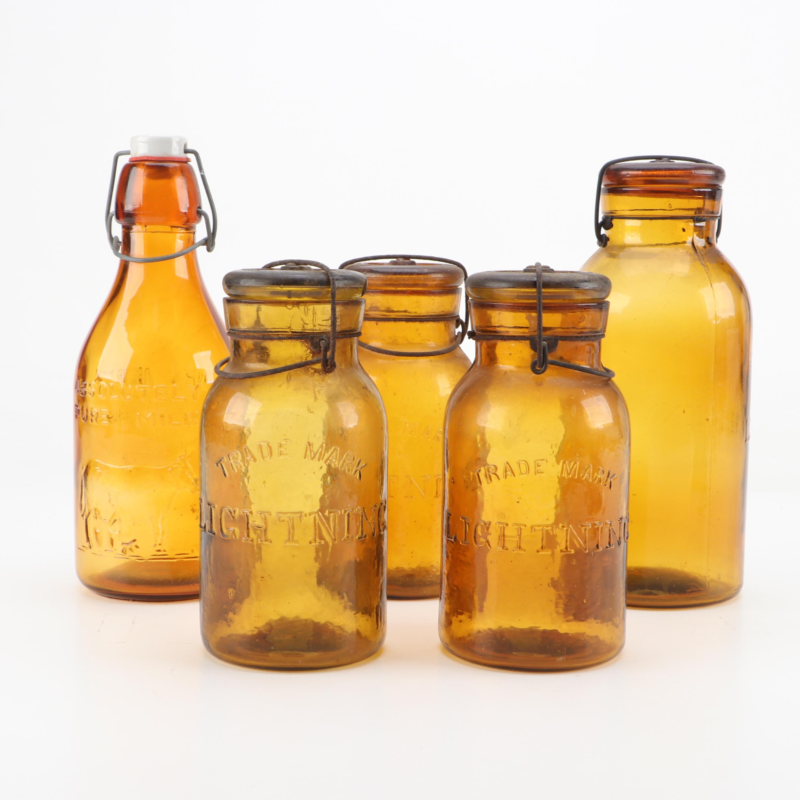 Antique Amber Canning Jars And Milk Bottle