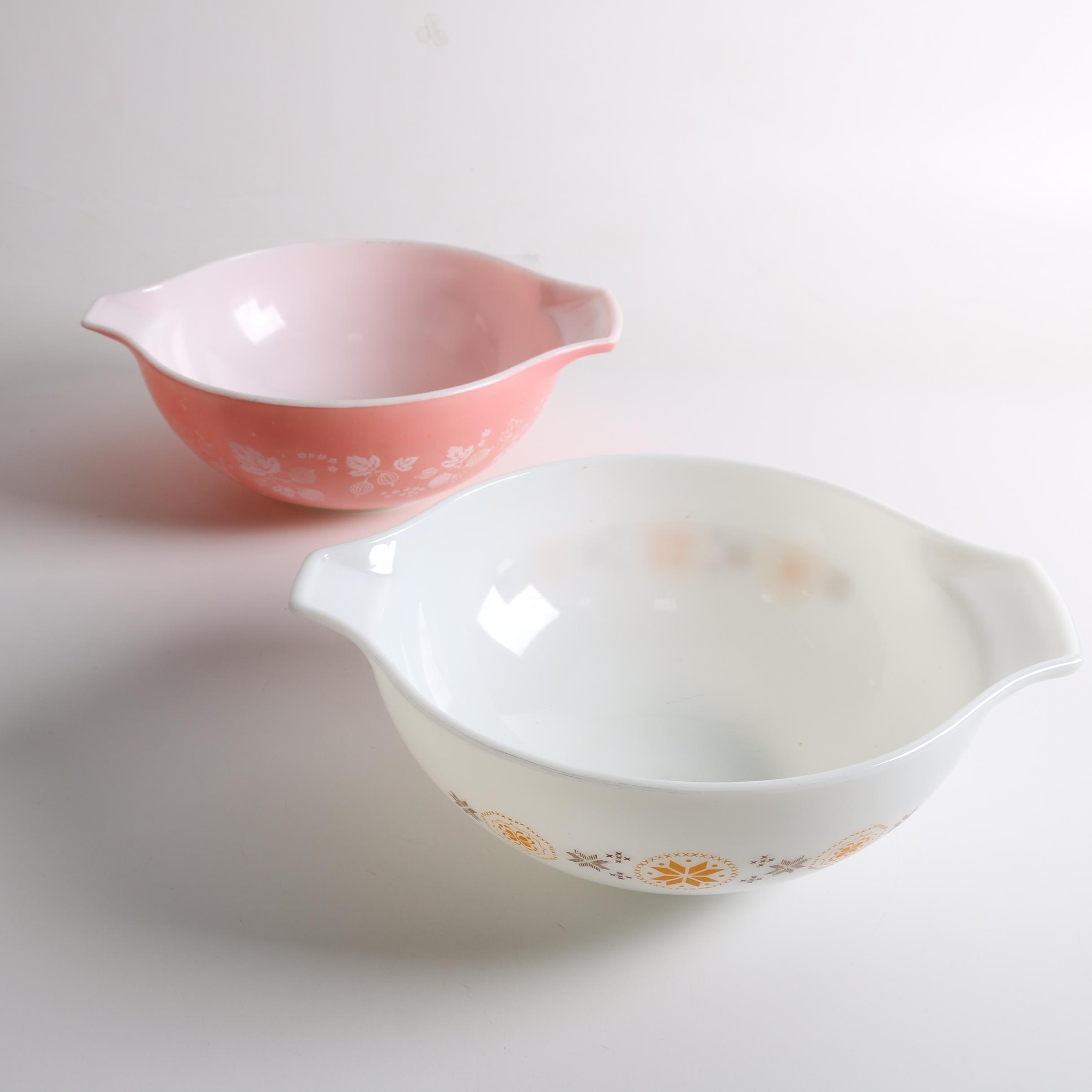 "Vintage Pyrex ""Pink Gooseberry"", and ""Town and Country"" Pattern Mixing Bowls"