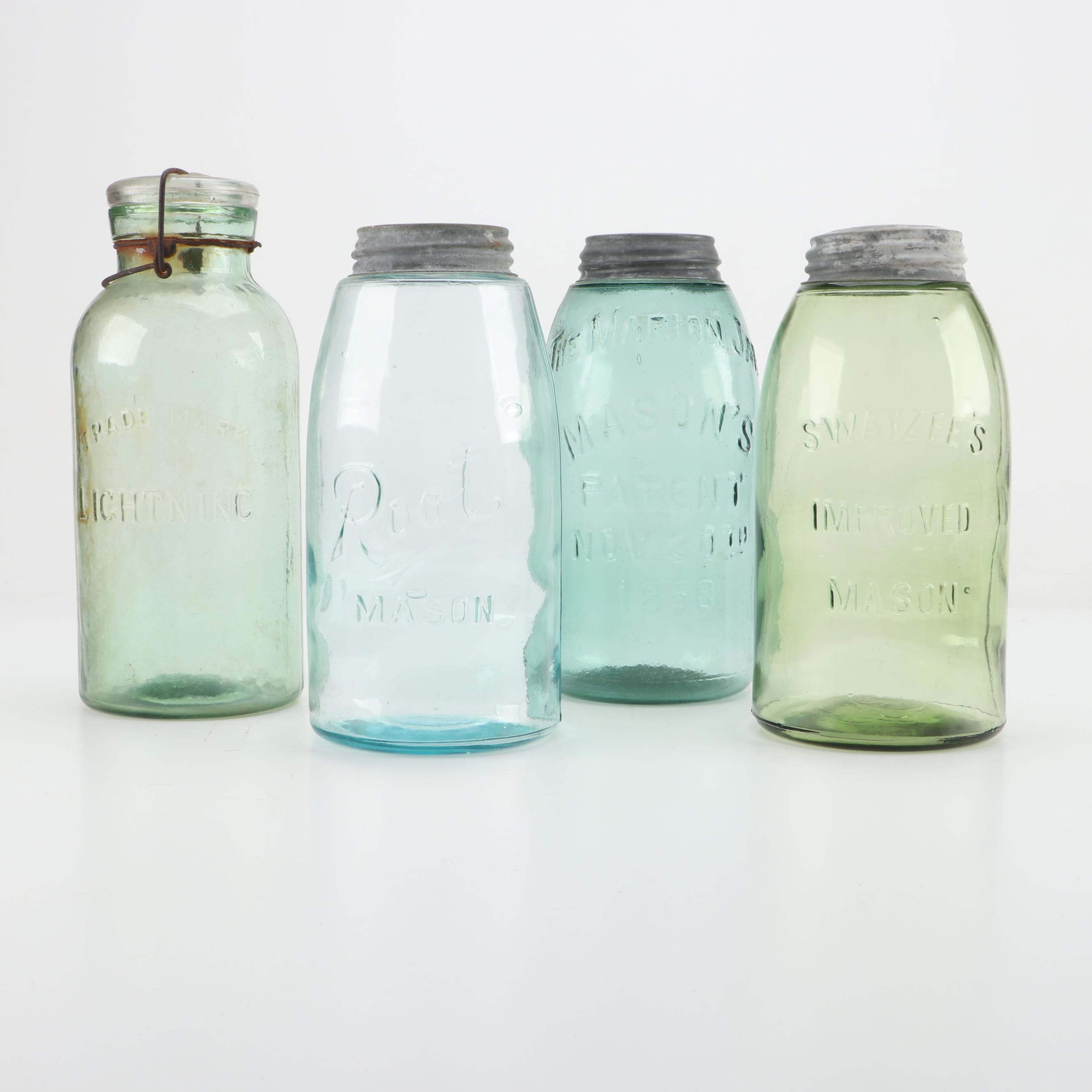 Four Large Antique Canning Jars