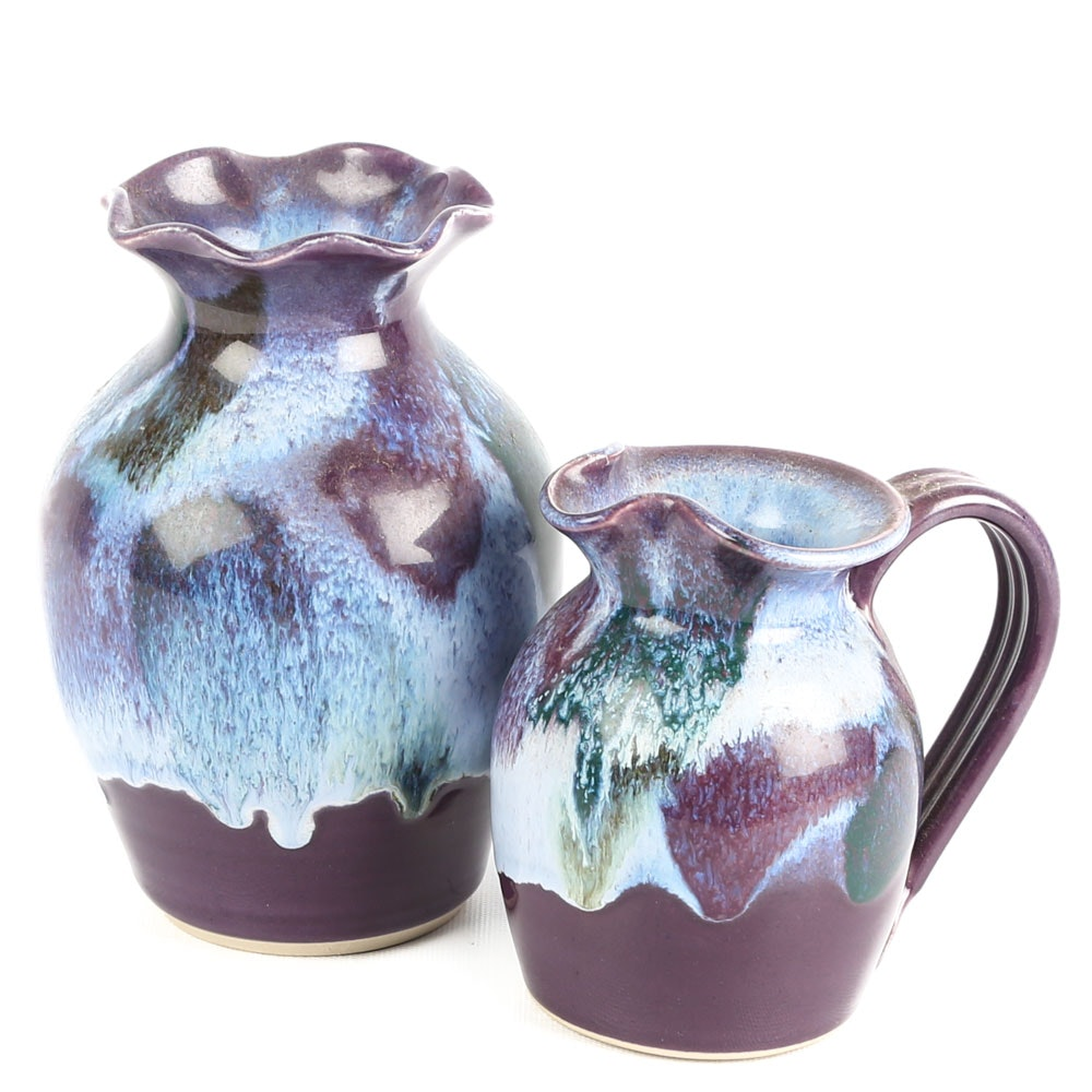 Hand-Thrown and Altered Pitcher and Vase by D.K. Clay Pottery