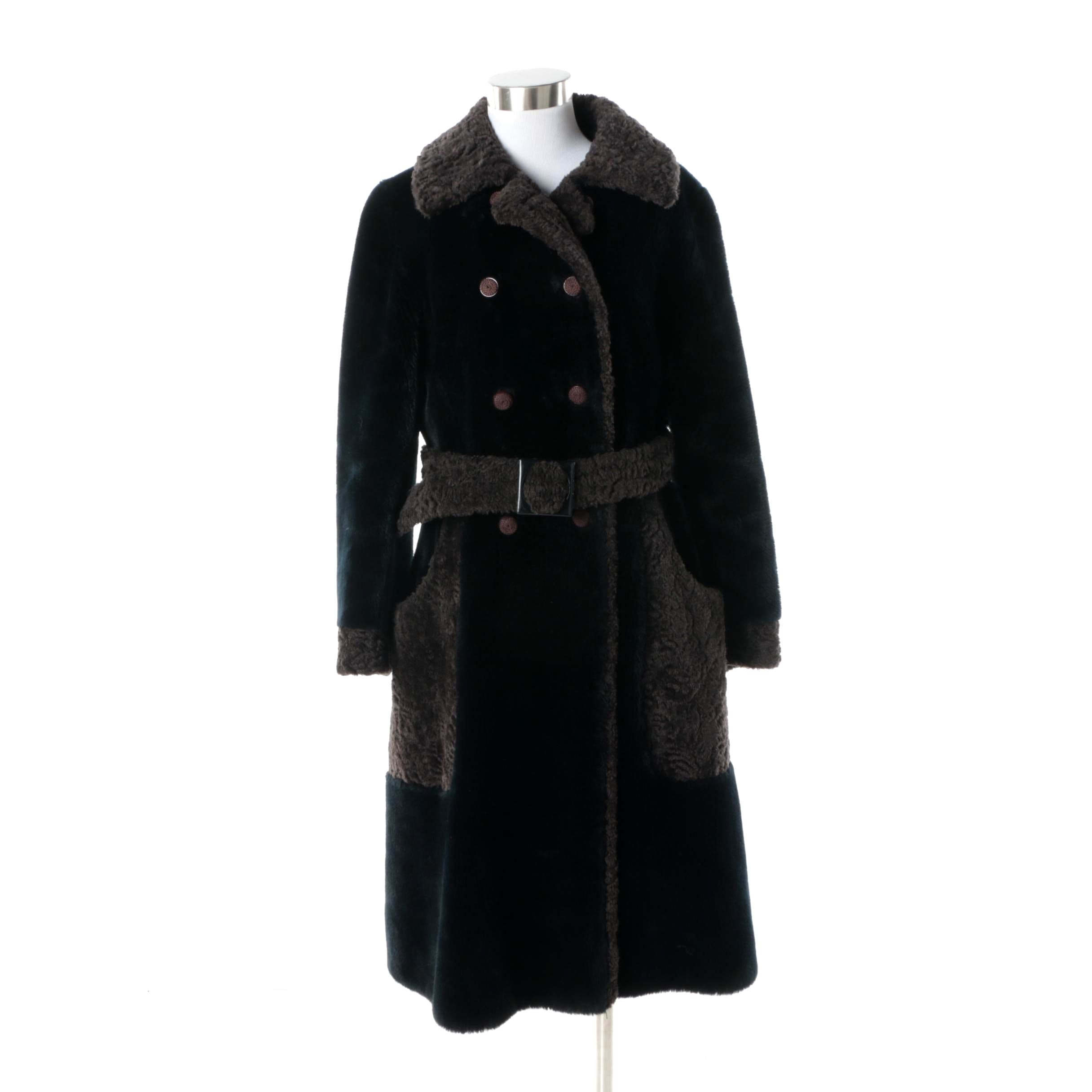 Vintage Borgana Double-Breasted Faux Fur Coat