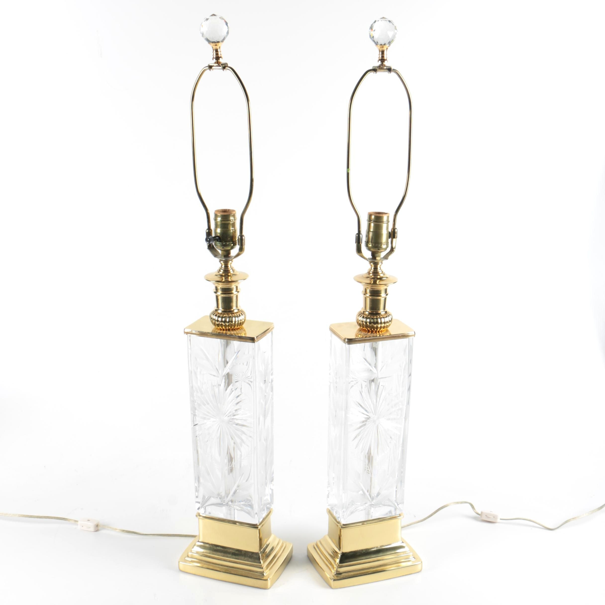 Pair of Etched and Frosted Patterned Glass Table Lamps