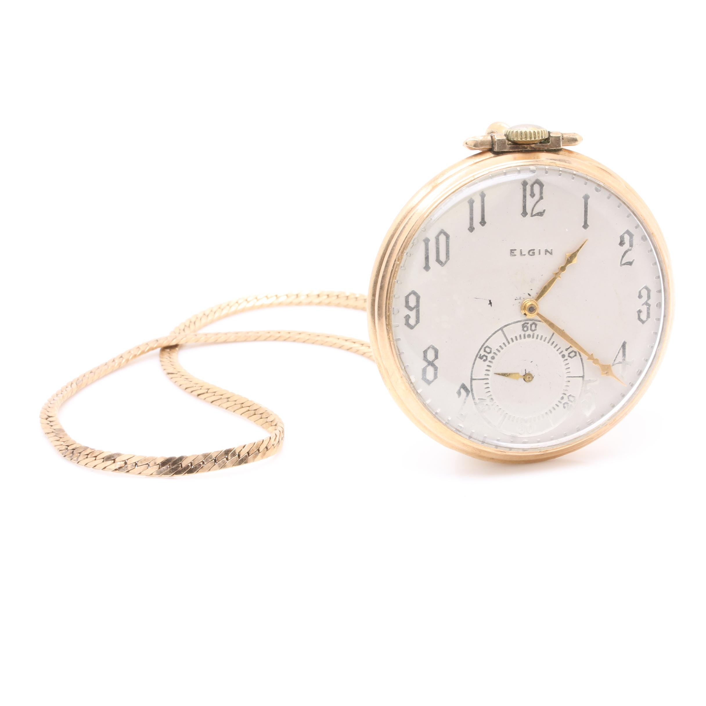 Elgin 10K Rolled Gold Plated Pocket Watch with Gold-Filled Fob