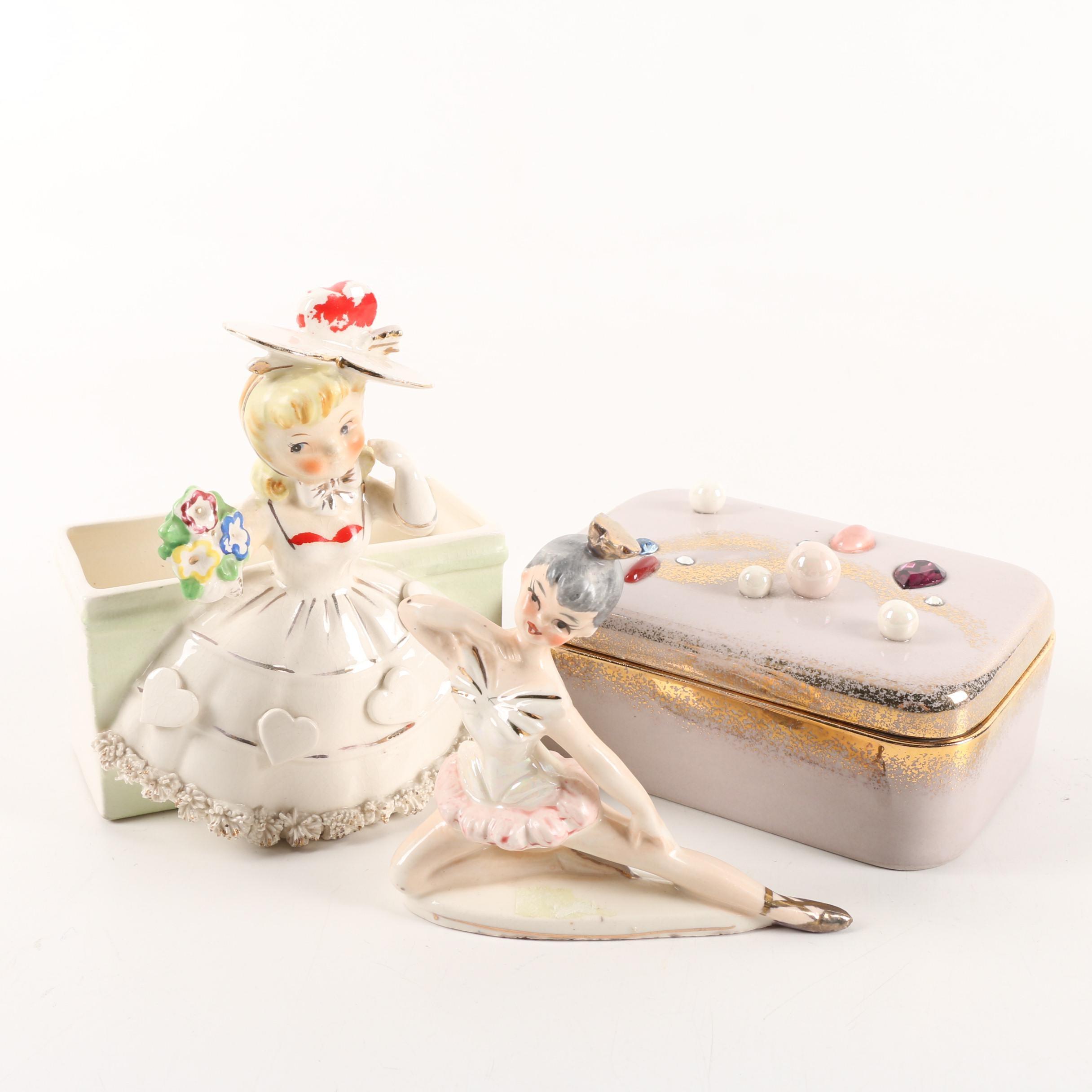 Vintage Ceramic Decor Including Trinket Box and Figurines