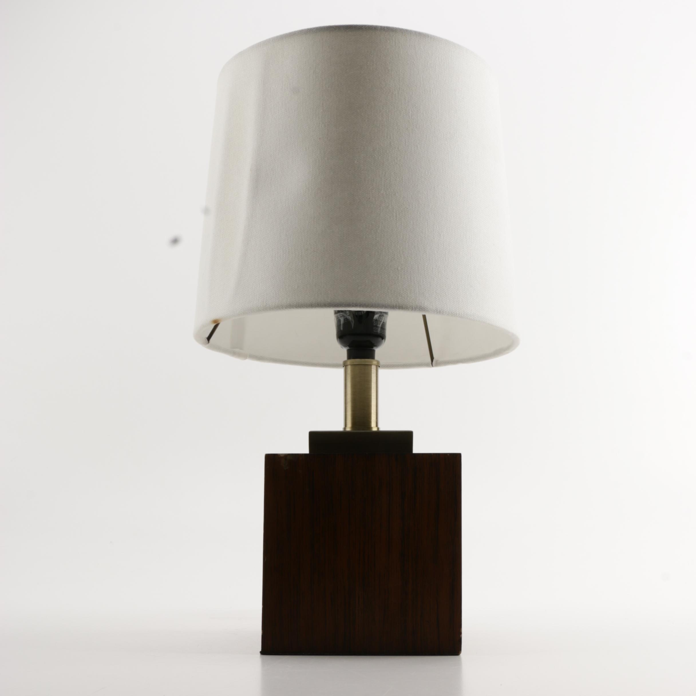 Contemporary Wood and Brass Table Lamp