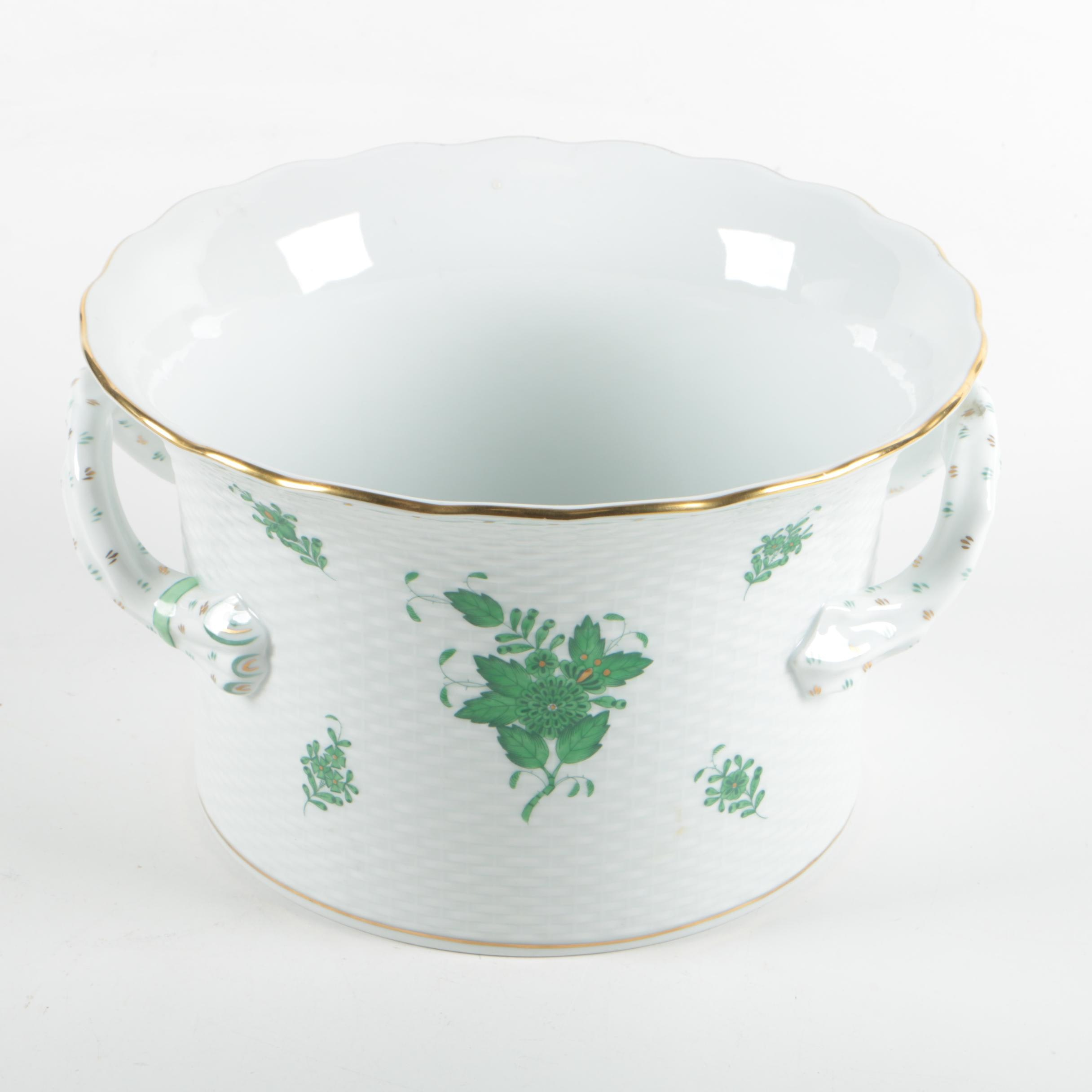 """Herend Hungary """"Chinese Bouquet Green"""" Cachepot"""