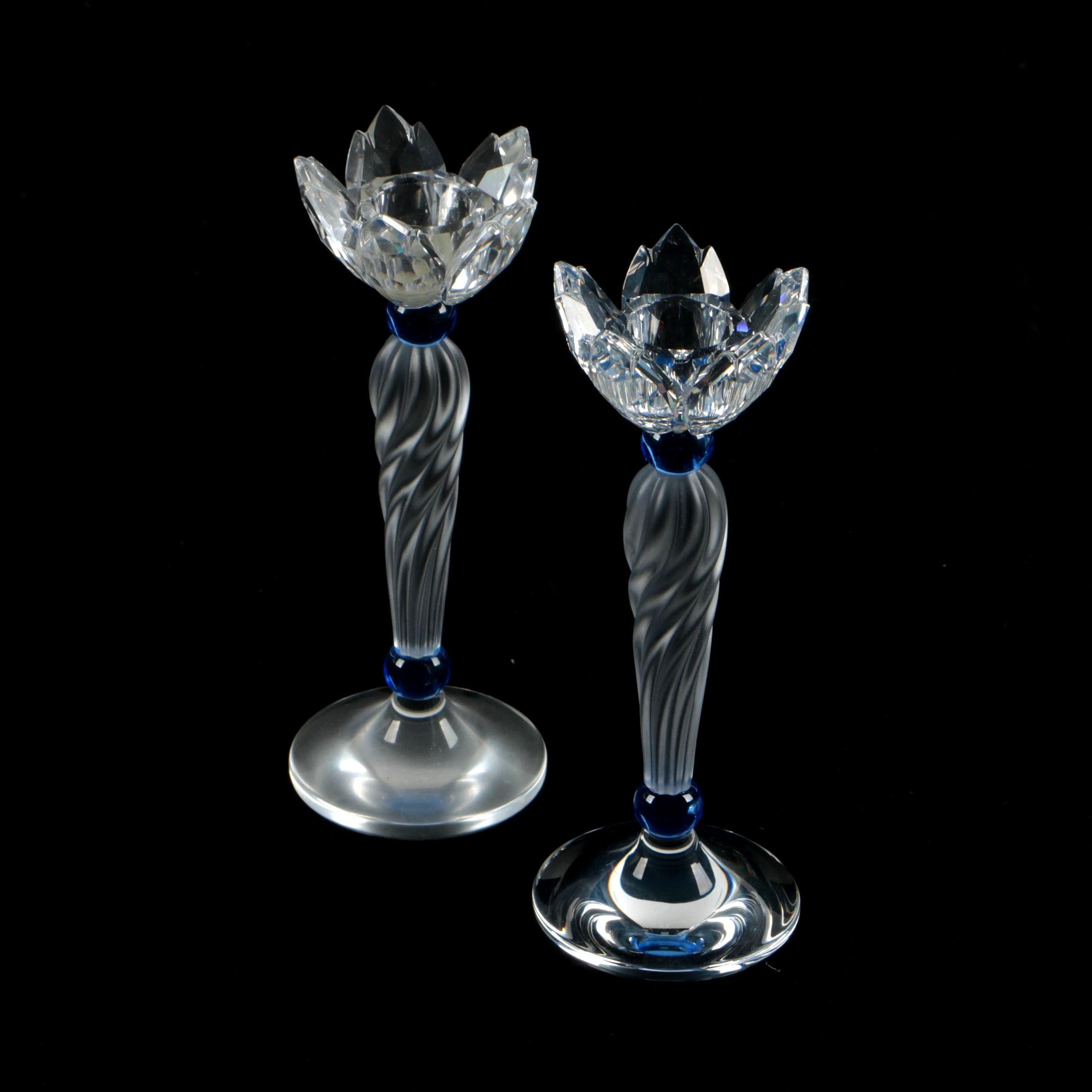 Pair of Swarovski Crystal Candleholders