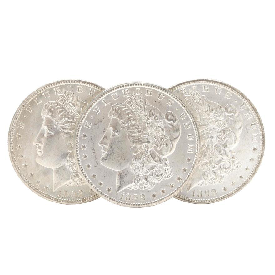 Three New Orleans Morgan Silver Dollars