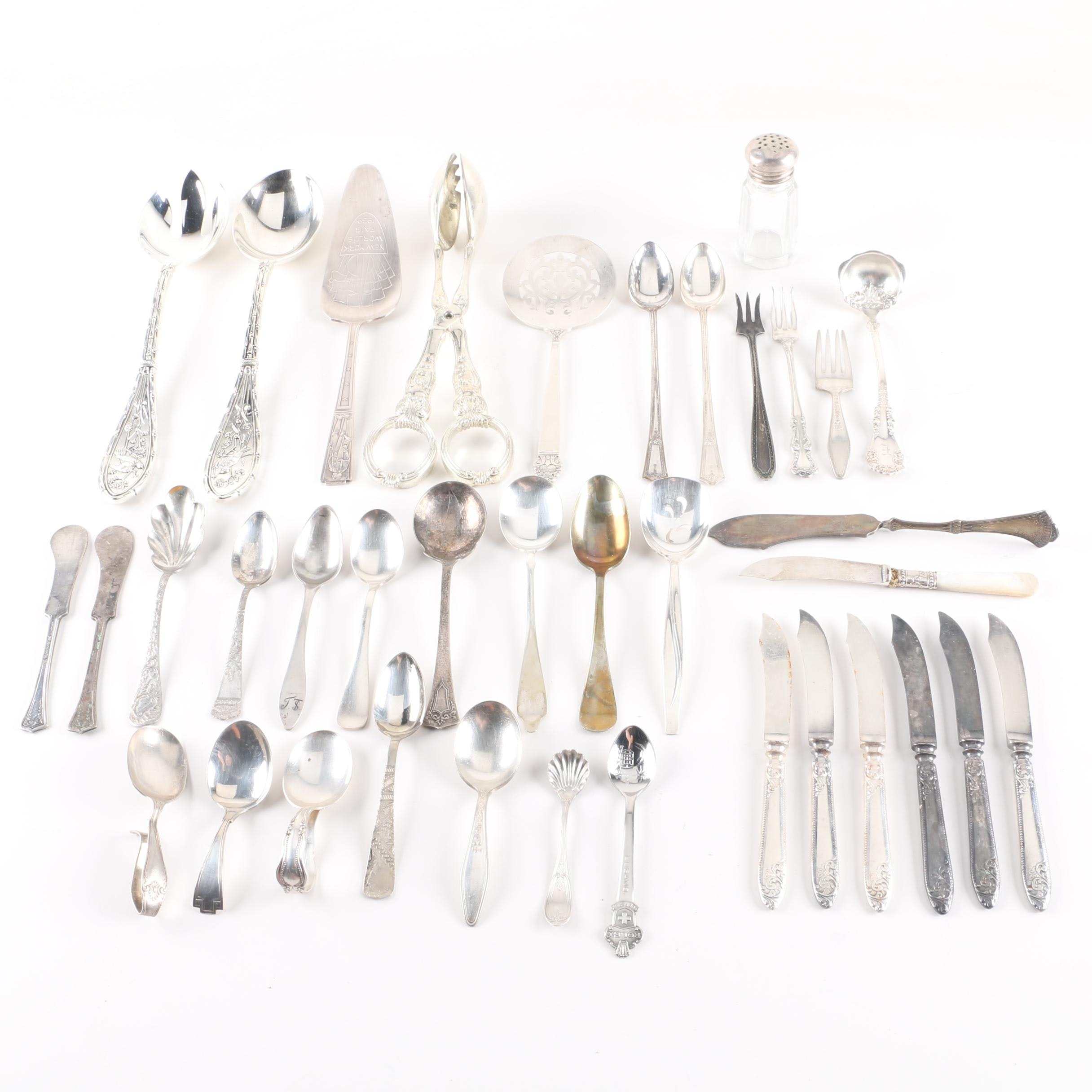 Silver Plate Flatware and Serving Utensils Featuring Godinger Tongs