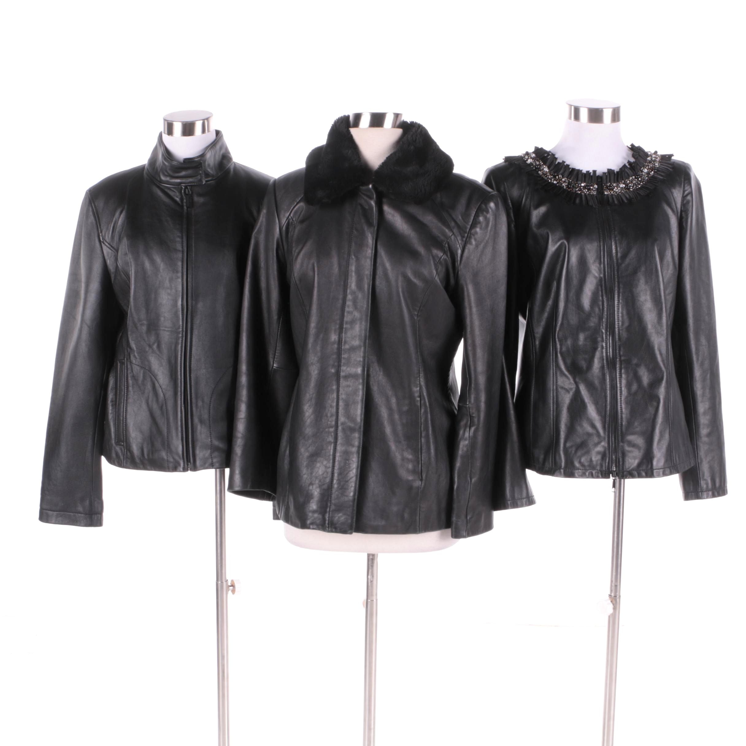 Women's Black Leather Jackets Including Calvin Klein and Lafayette 148