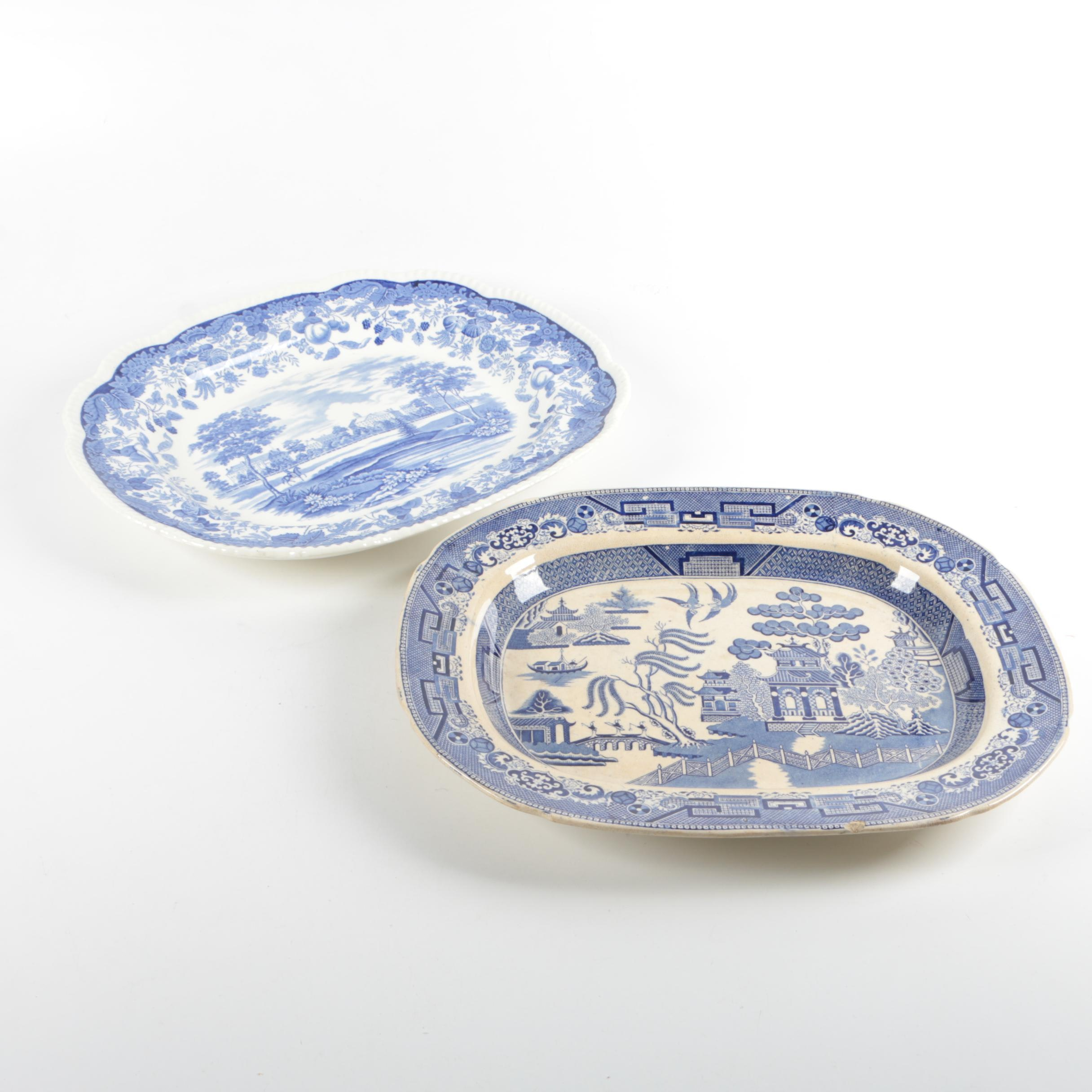 "19th Century Staffordshire ""Blue Willow"" Platter and Vintage Wedgwood Platter"