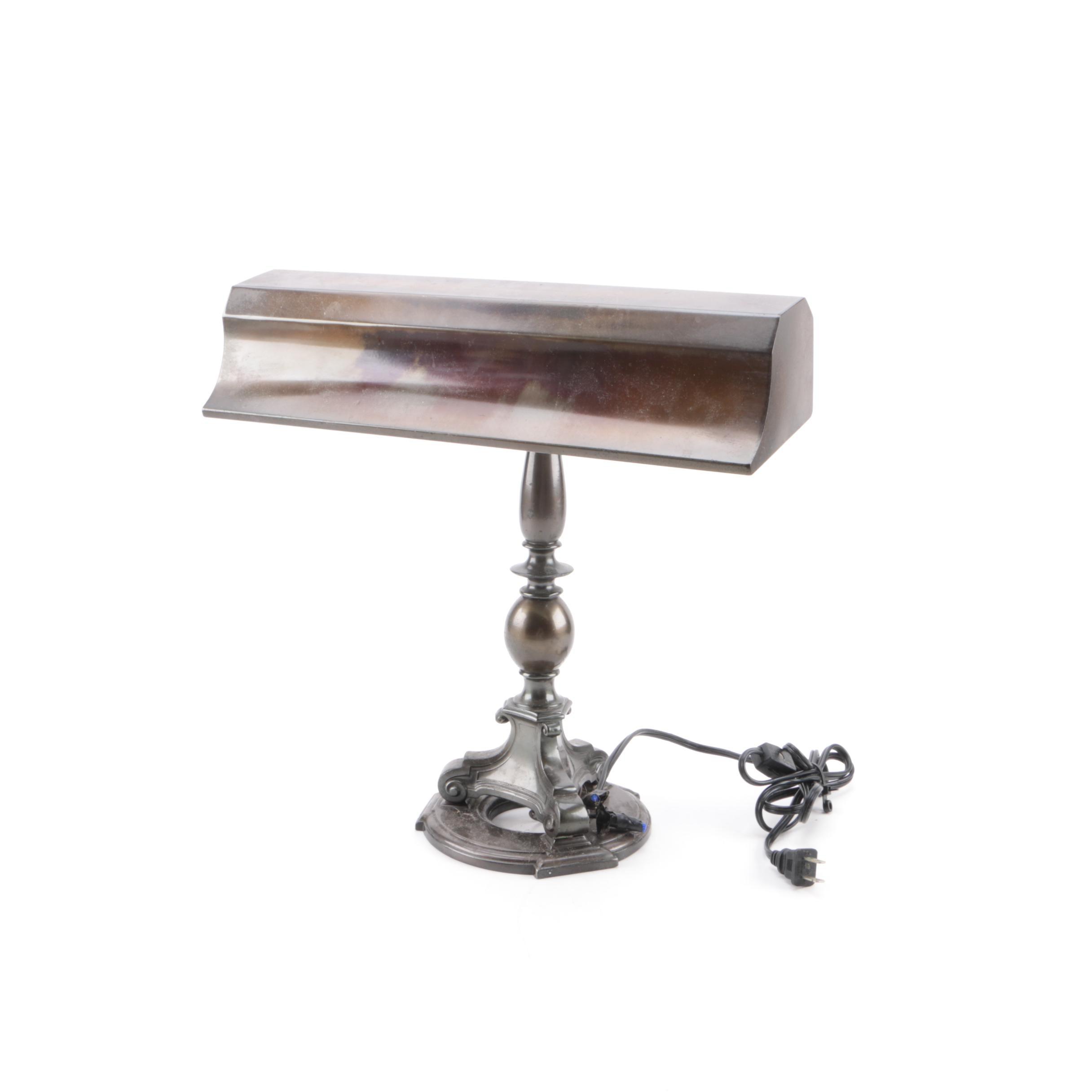 Vintage Emeralite Metal Library Lamp