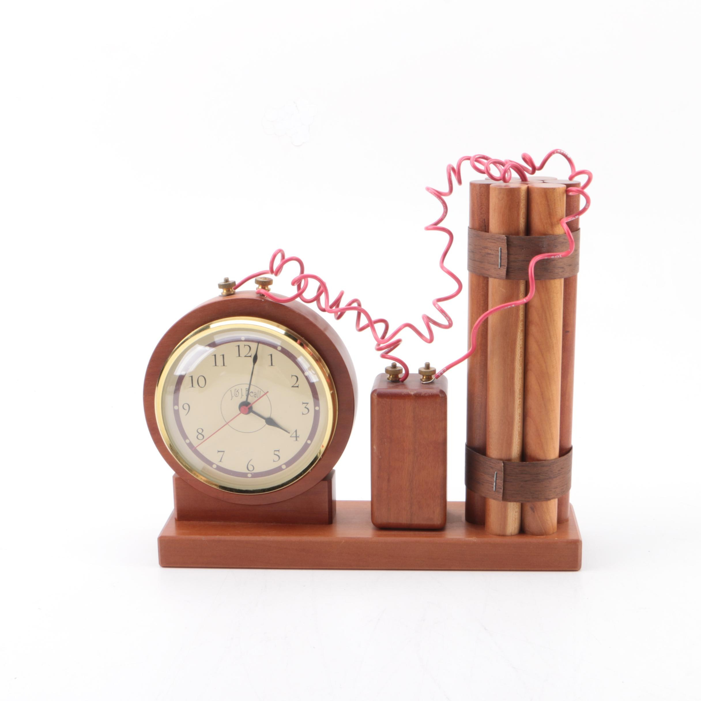 J. & J. Beall Novelty Dynamite Themed Mantel Clock