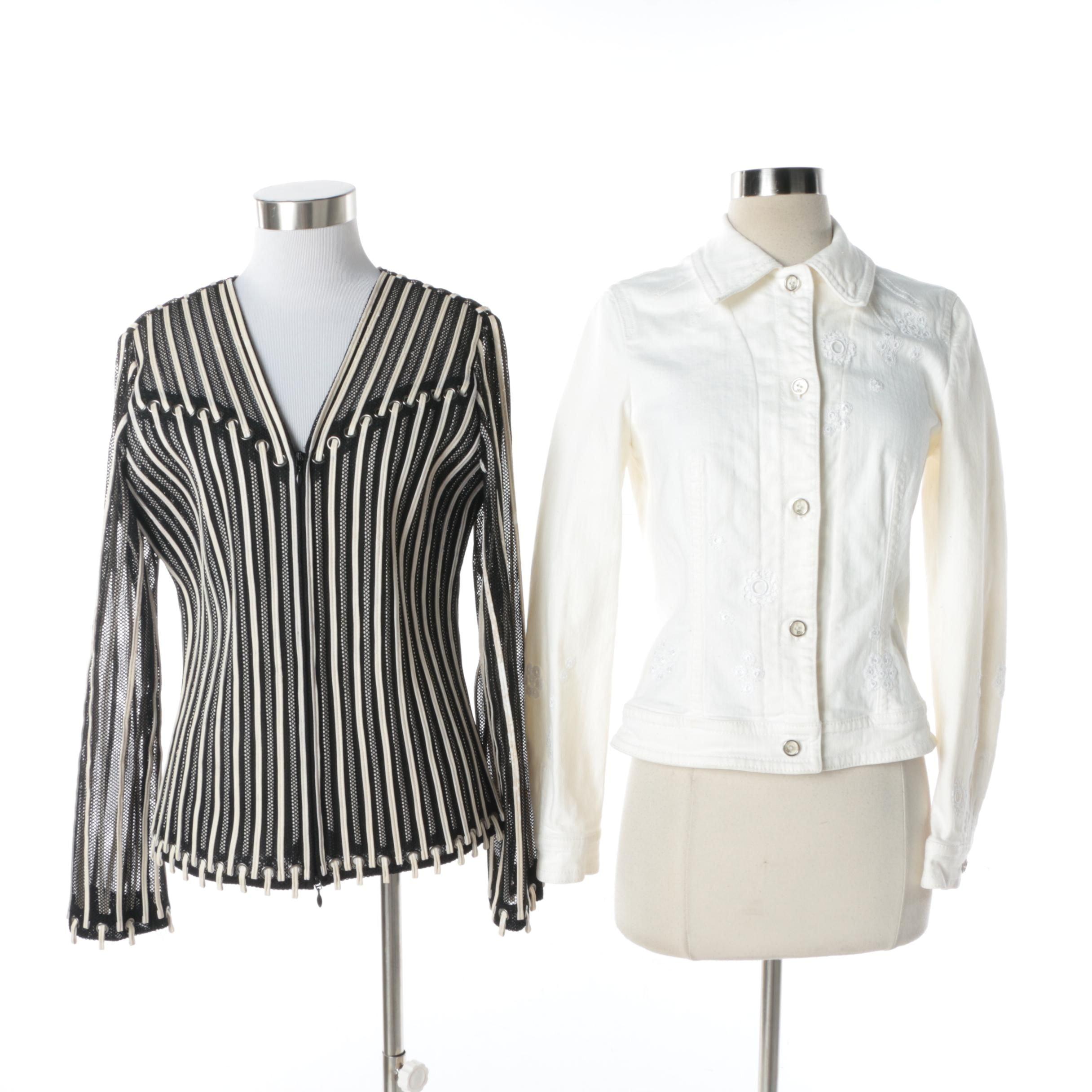 Women's Escada Denim Jacket and Obstinee by Ika Bias Tape Top