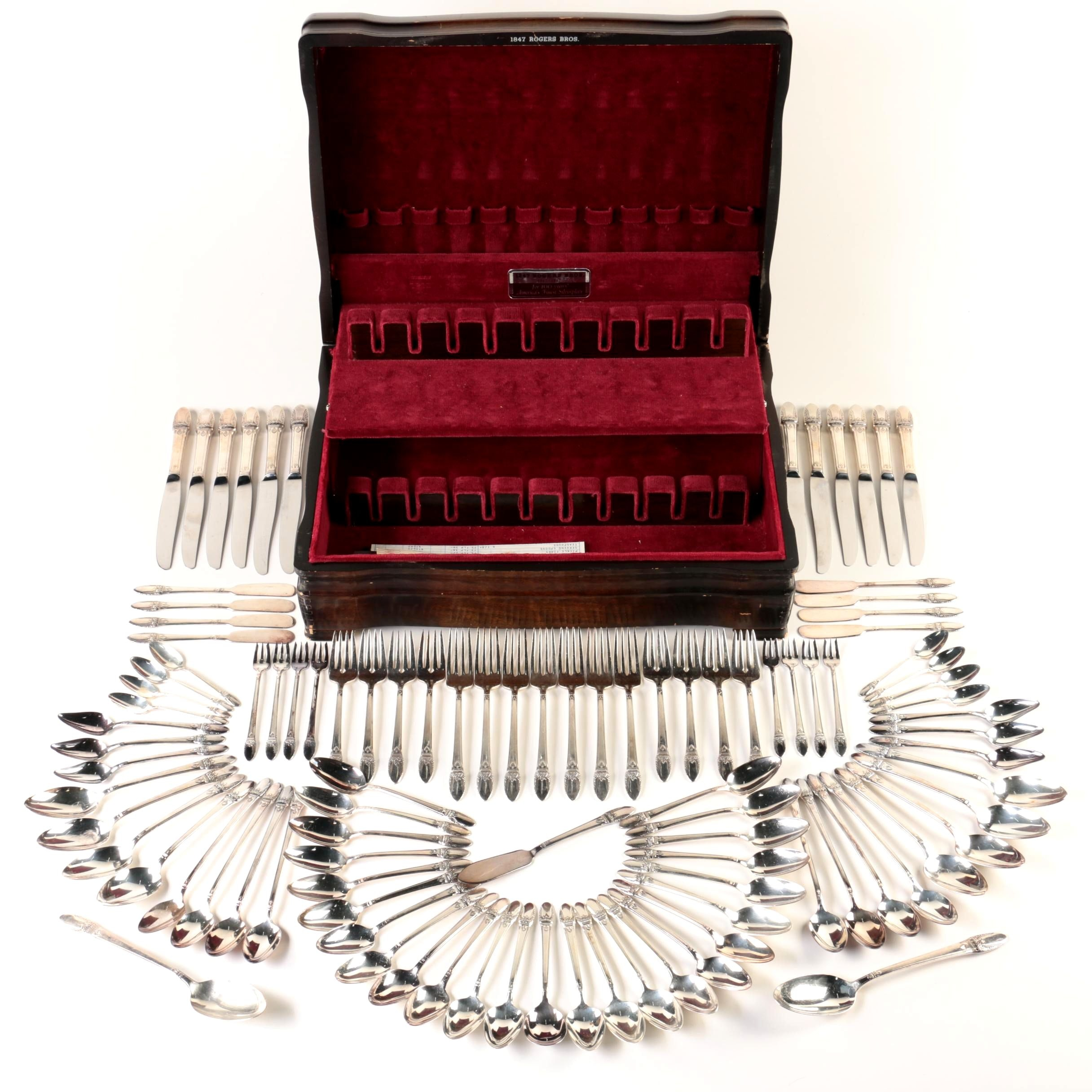 """1847 Rogers Bros. """"First Love"""" Silver-Plated Flatware Set"""
