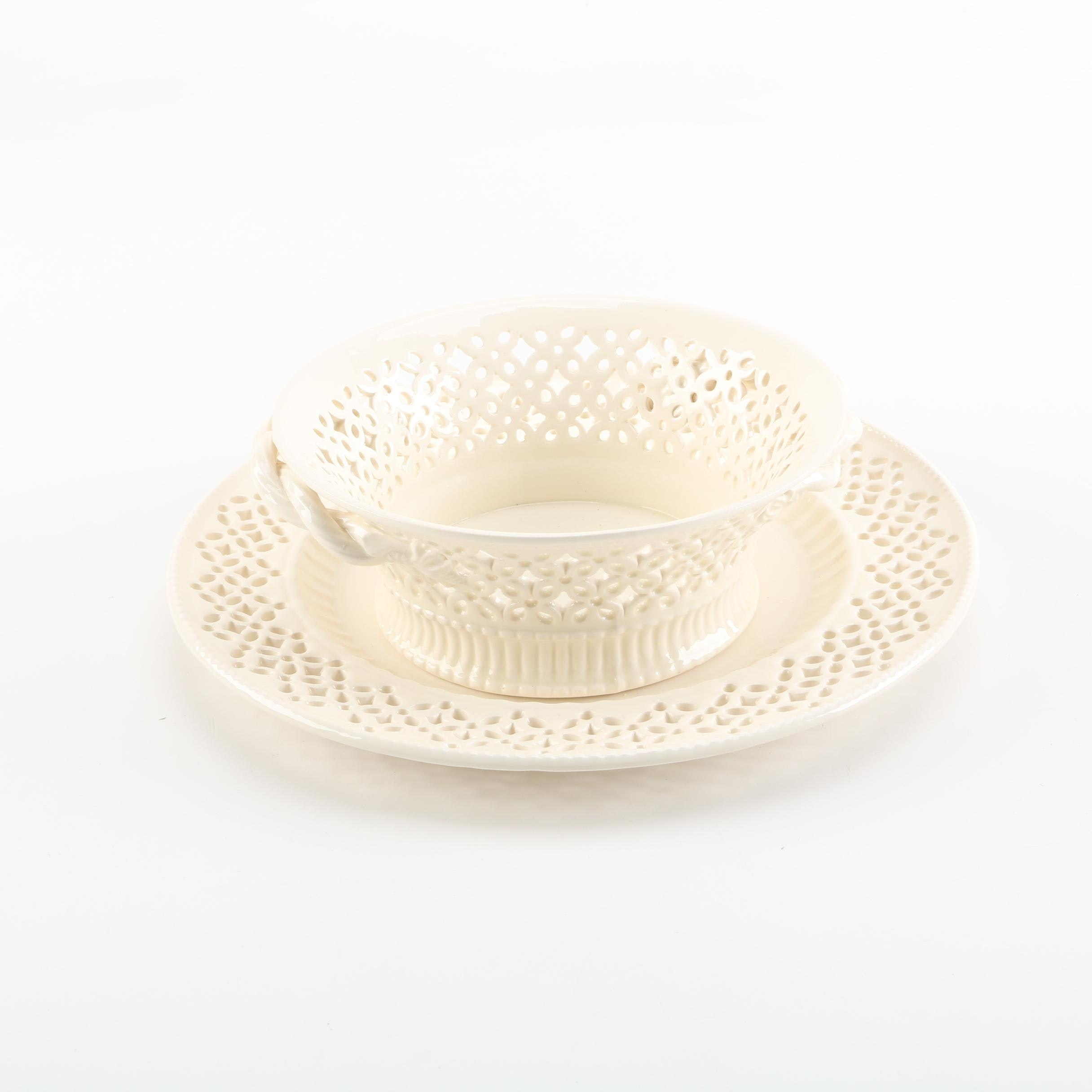 "Royal Creamware ""Originals"" Reticulated Basket and Underplate"