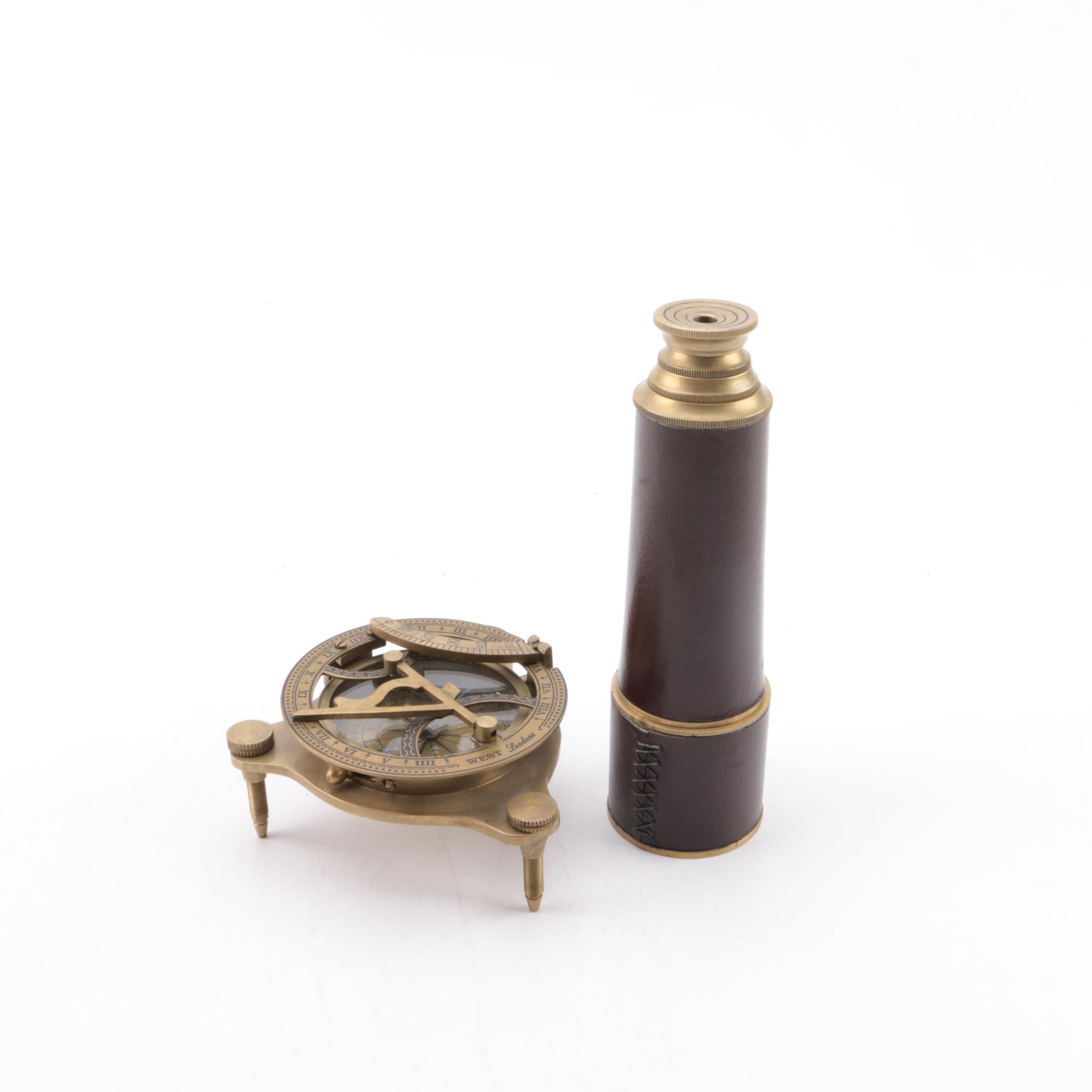 Vintage Looking Glass and Compass