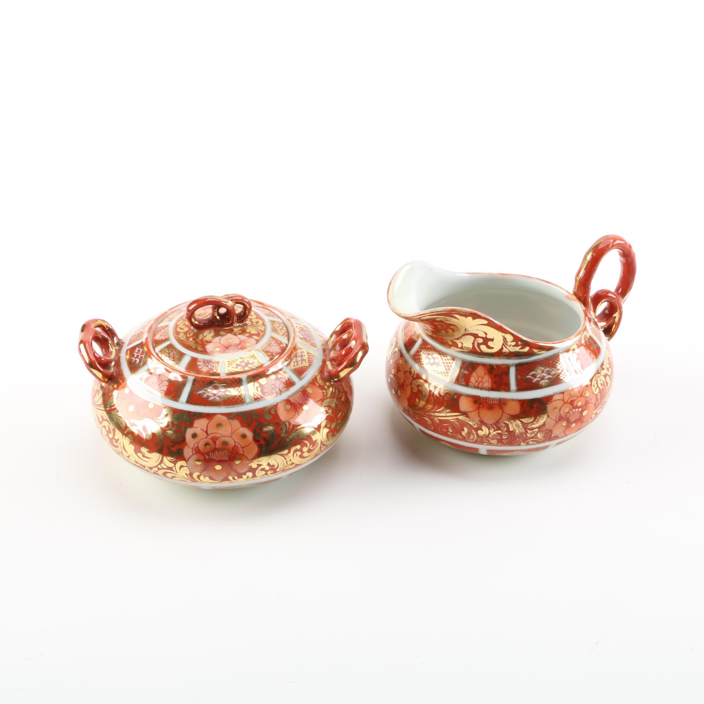 Japanese Kutani Style Porcelain Sugar Bowl And Creamer