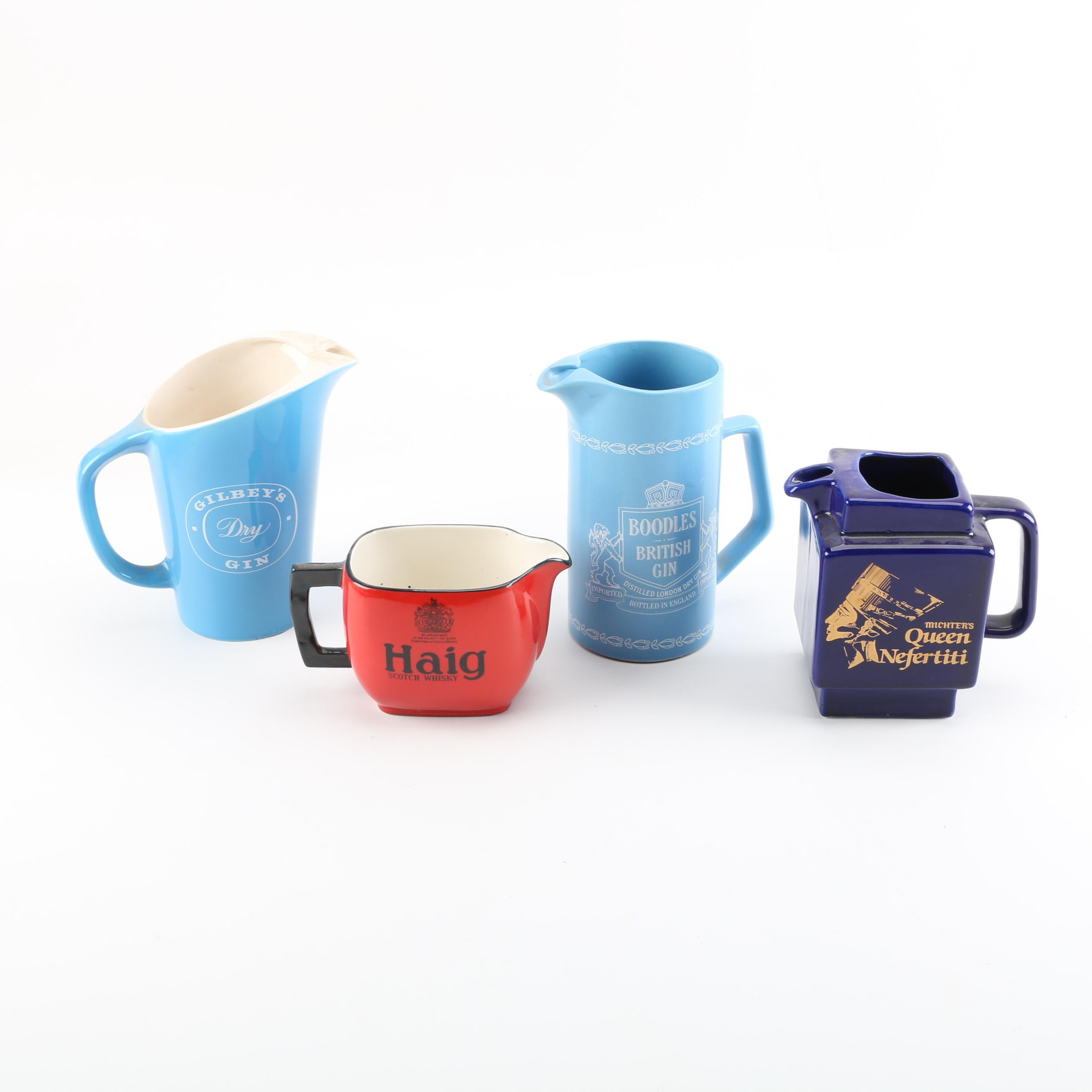 Collection of Vintage English Ceramic Marketing Pitchers