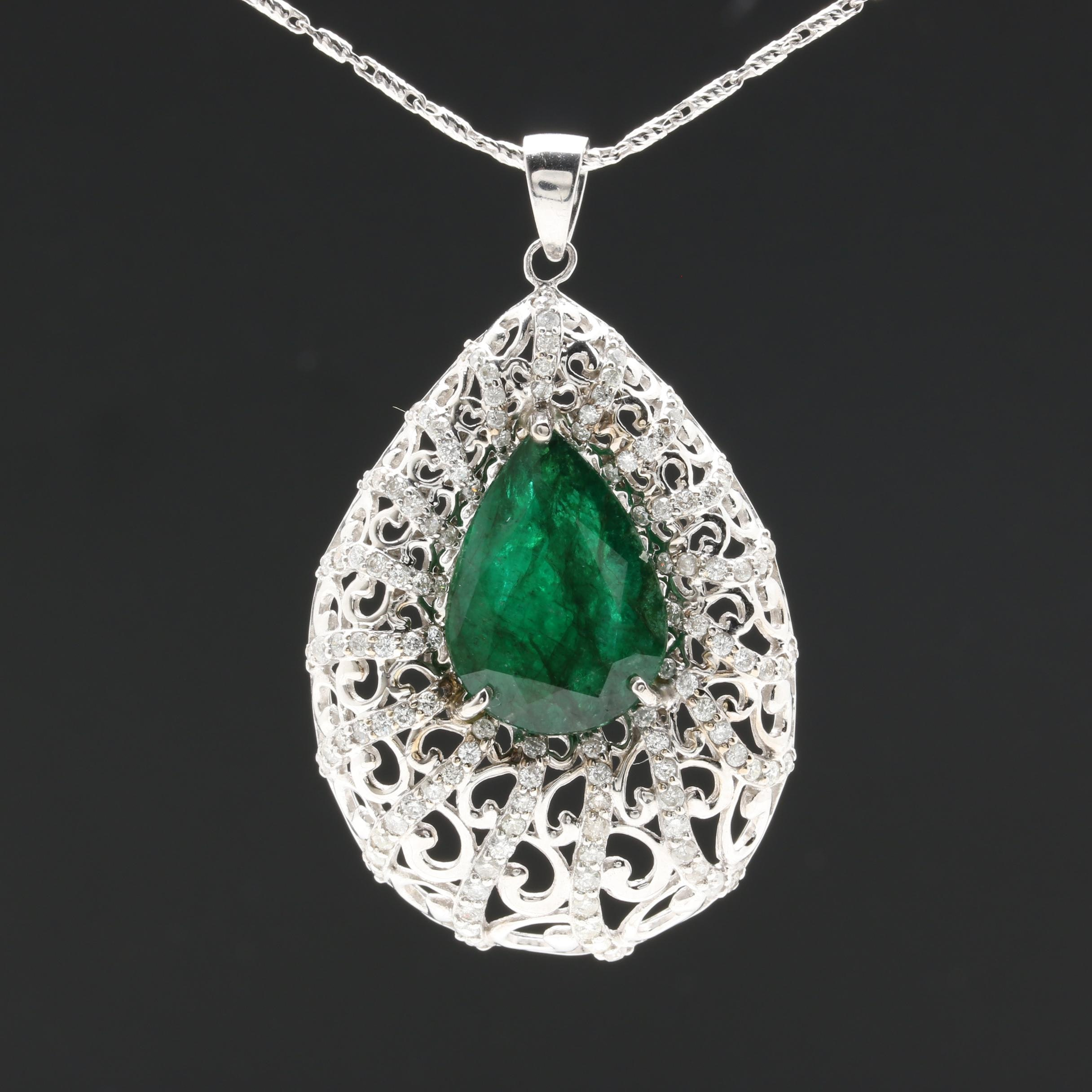 14K White Gold 8.02 CT Emerald and 1.71 CTW Diamond Pendant Necklace