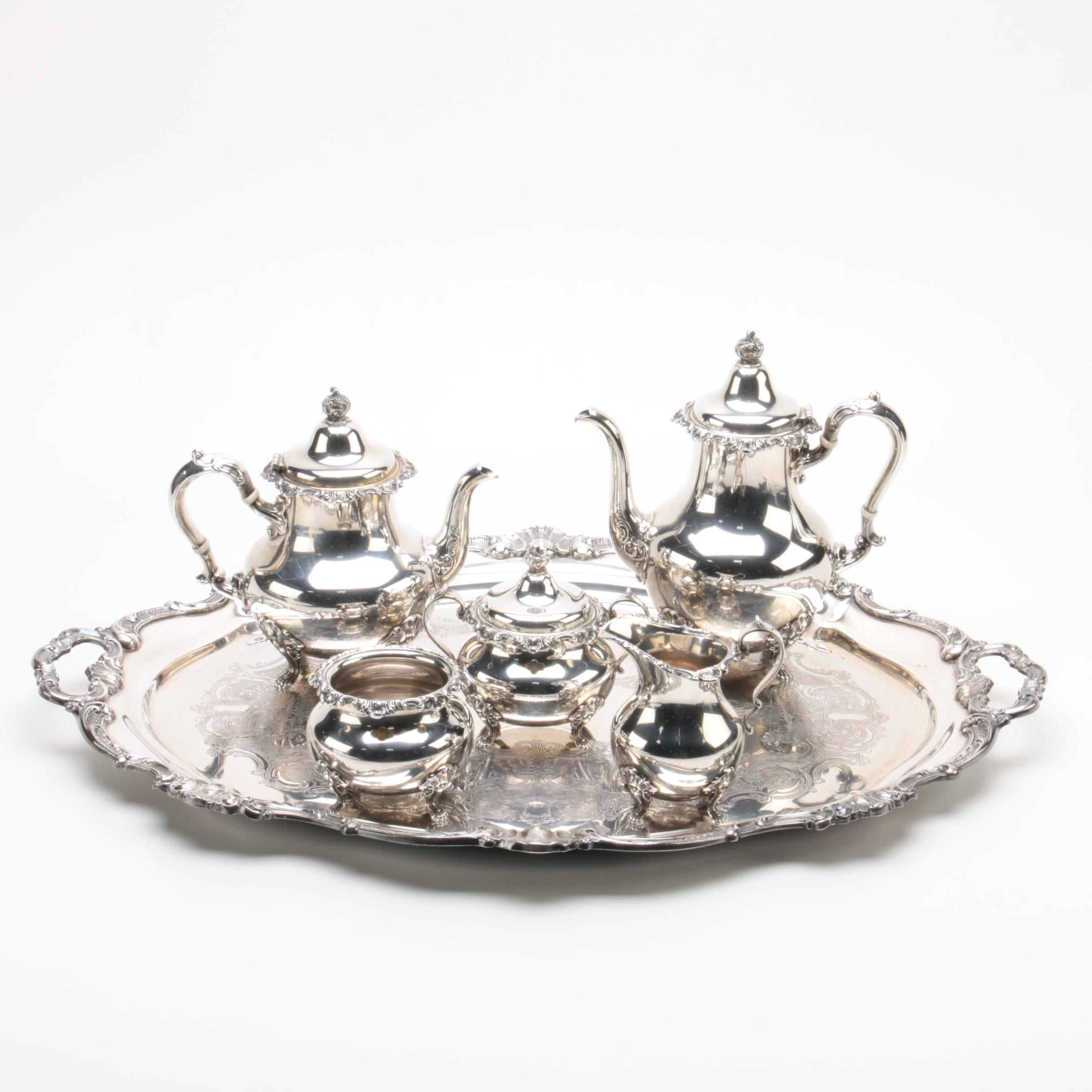 """Gorham """"Strasbourg"""" Sterling Silver Tea Set and Silver Plate Tray"""