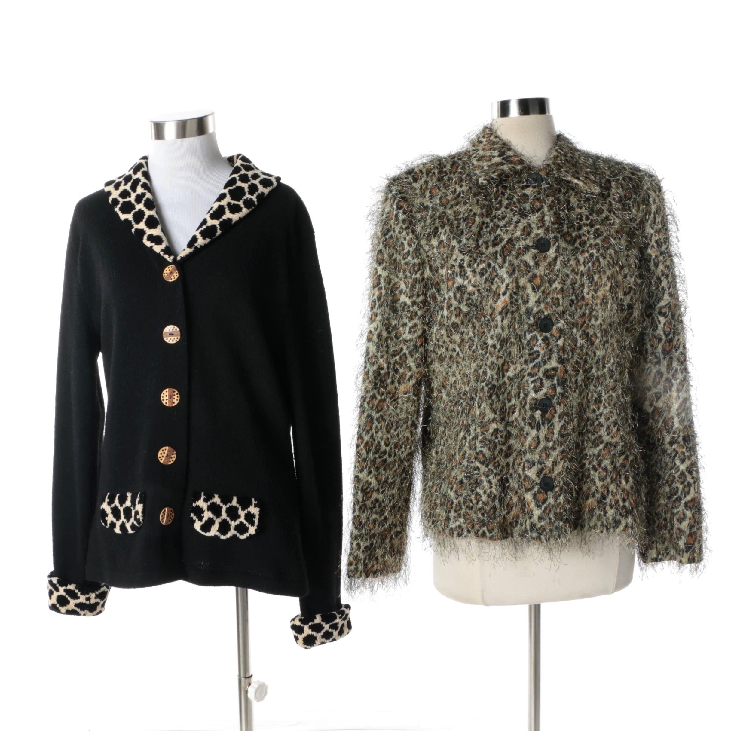 Women's Vintage Giancarlo Ferrari and Dia Animal Print Knit Jackets