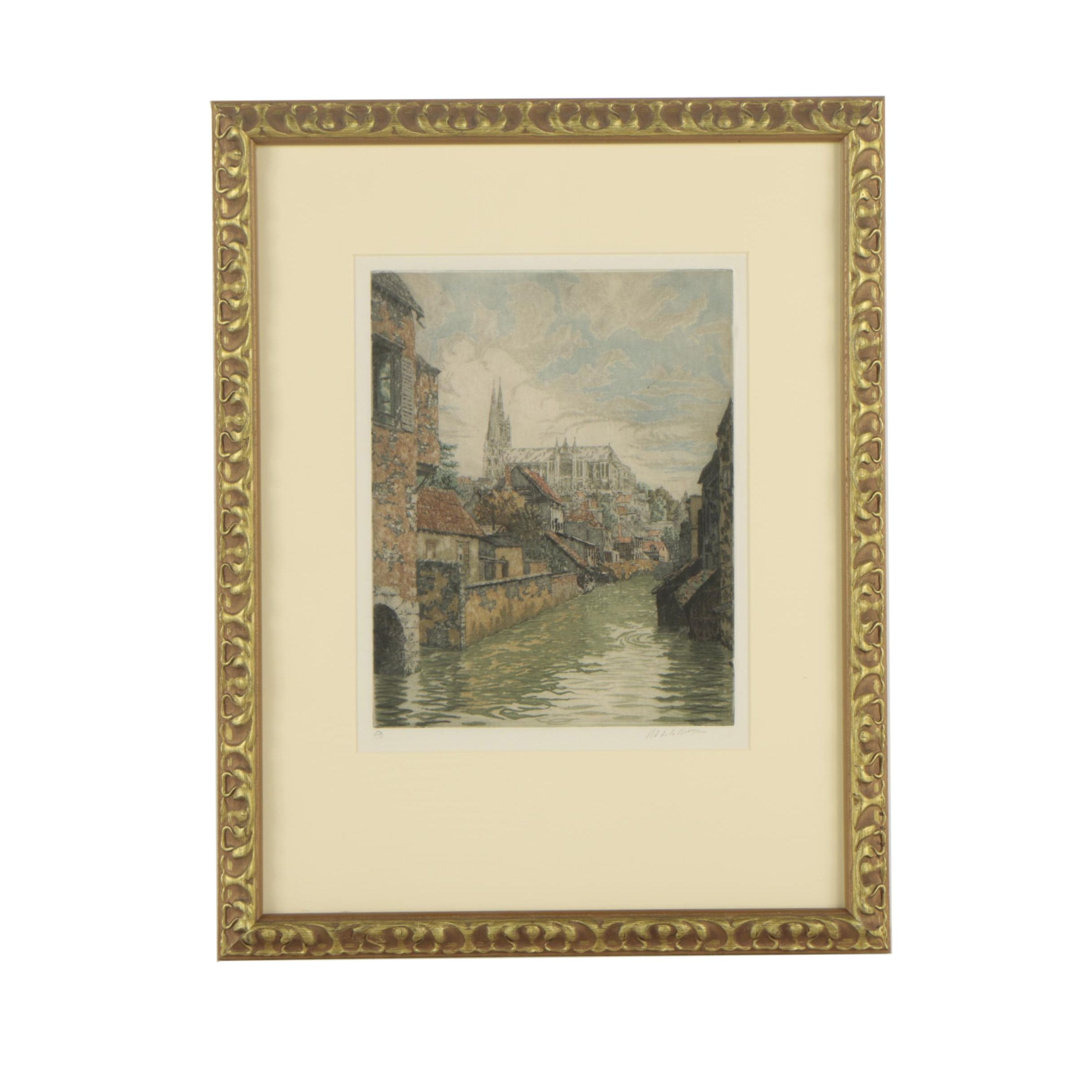 Paris Etching Society Mid Century Etching of French Cityscape with Canal