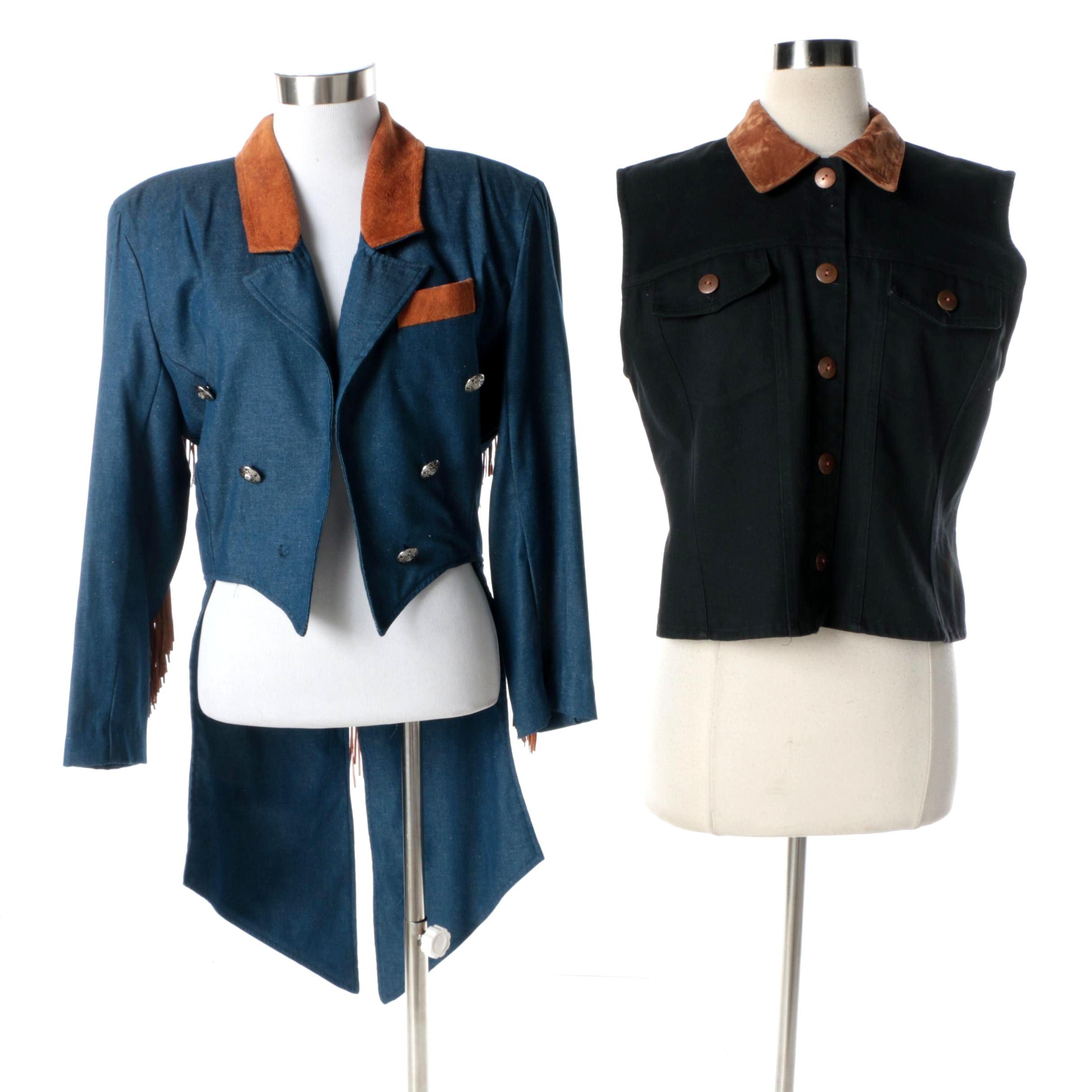 Vintage Liz & Parker Western Cutaway Fringed Jacket and Stonebridge Denim Vest