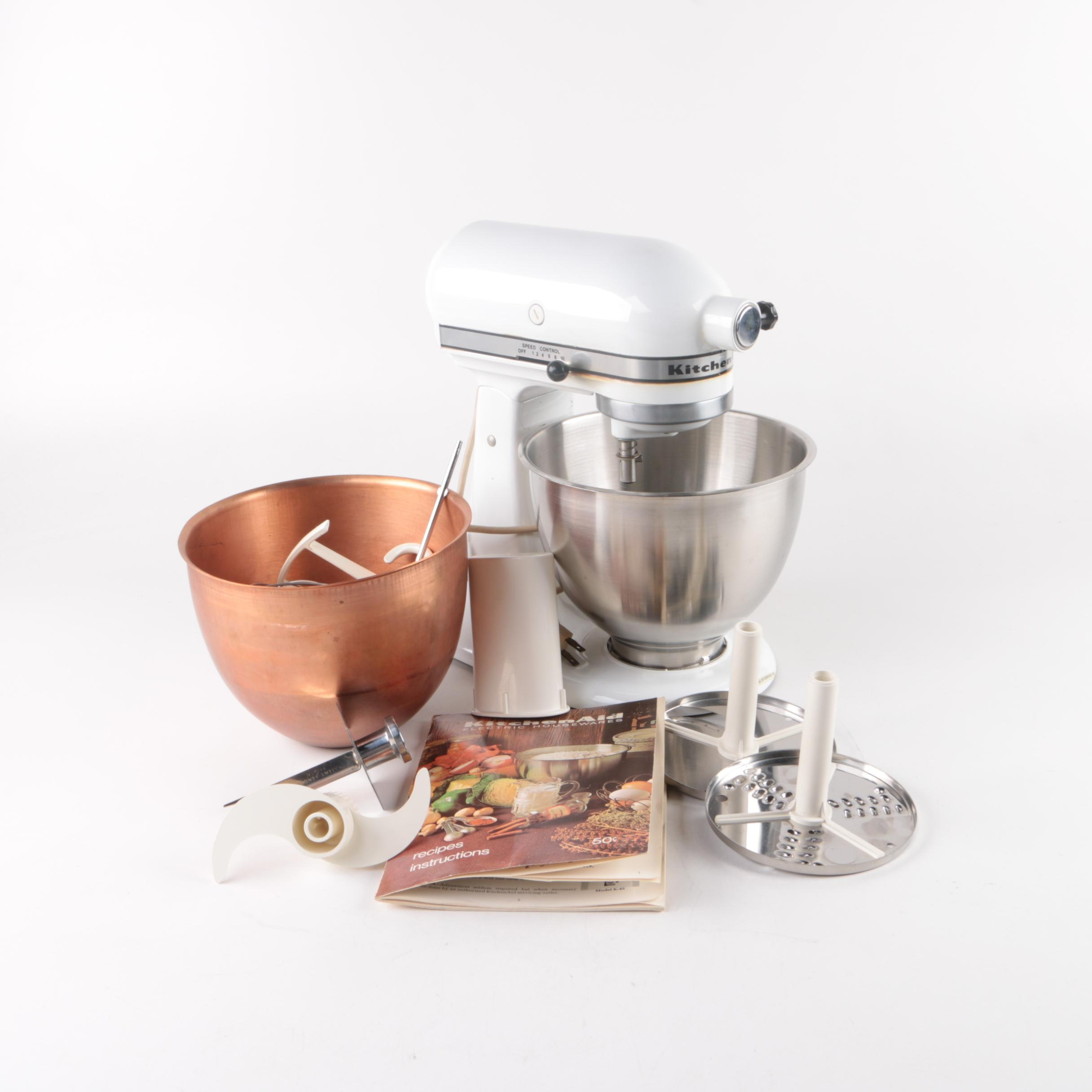 White KitchenAid Stand Mixer, Accessories and Instruction Book