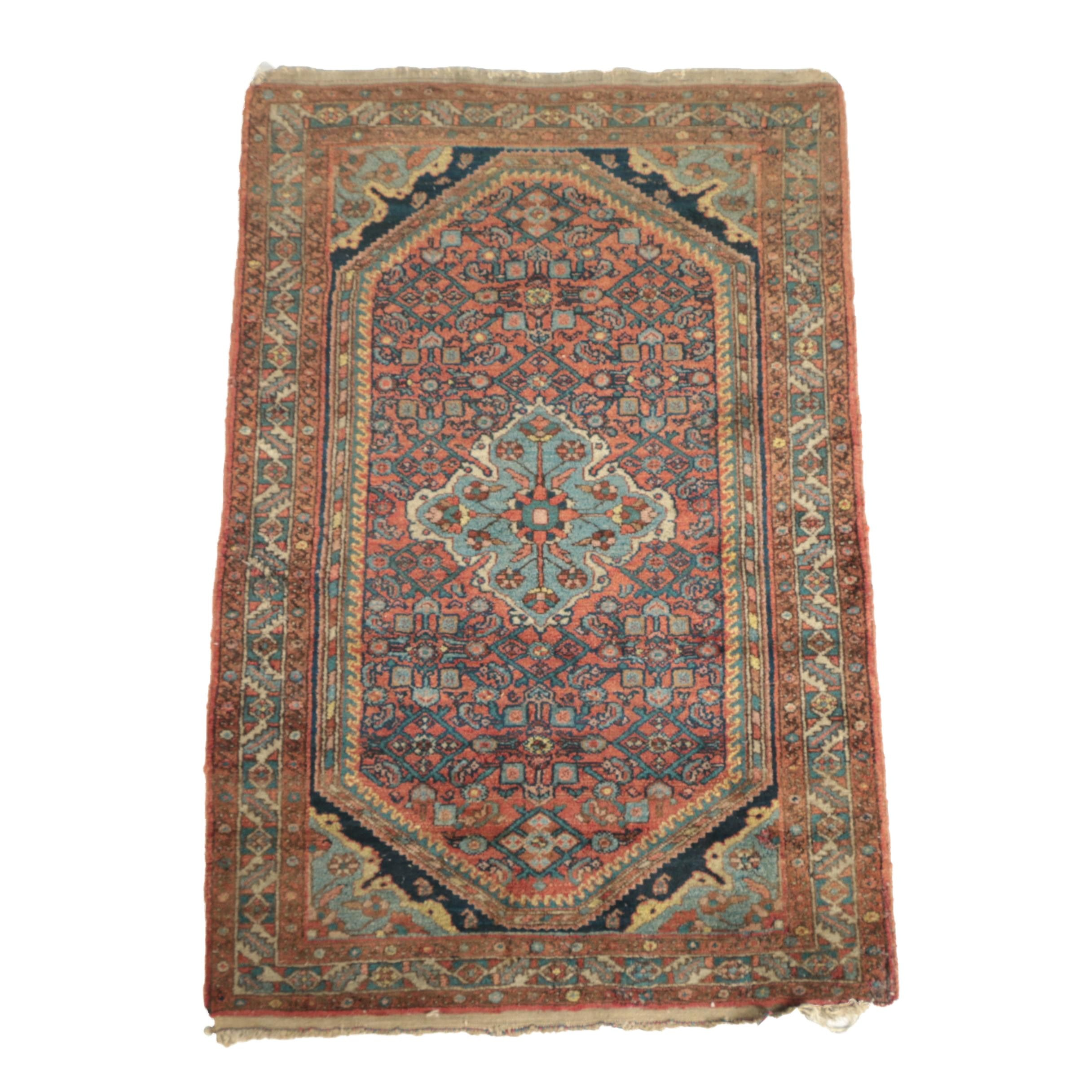 Vintage Hand-Knotted Persian Senneh Wool Accent Rug