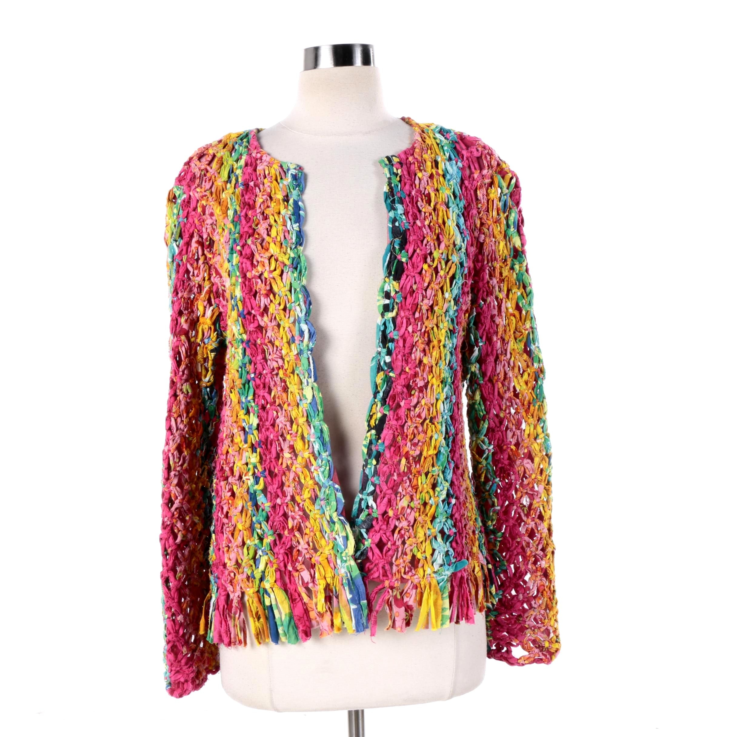Women's Sandy Starkman Wearable Art Knotted Rag Rainbow Jacket