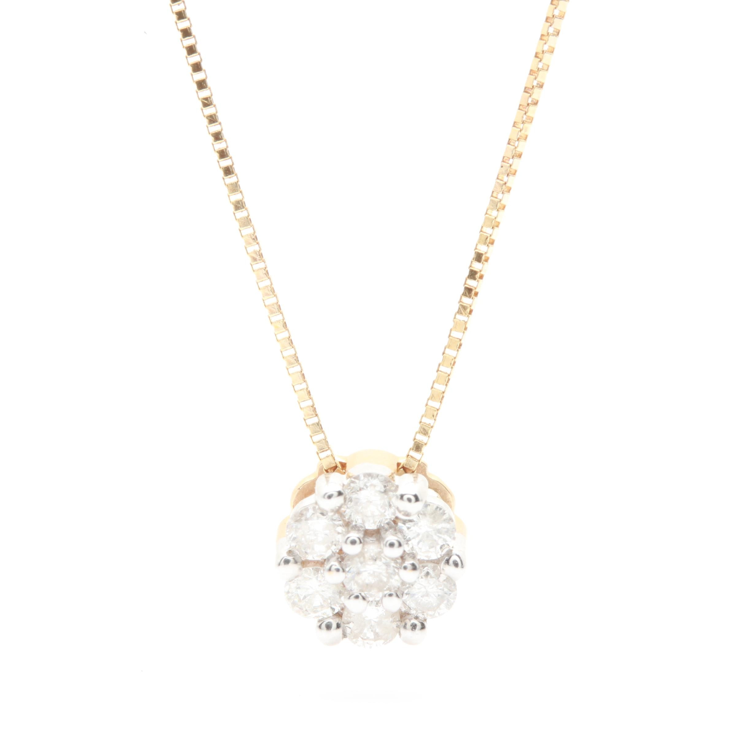 14K Yellow Gold Diamond Pendant Necklace with 14K White Gold Accents