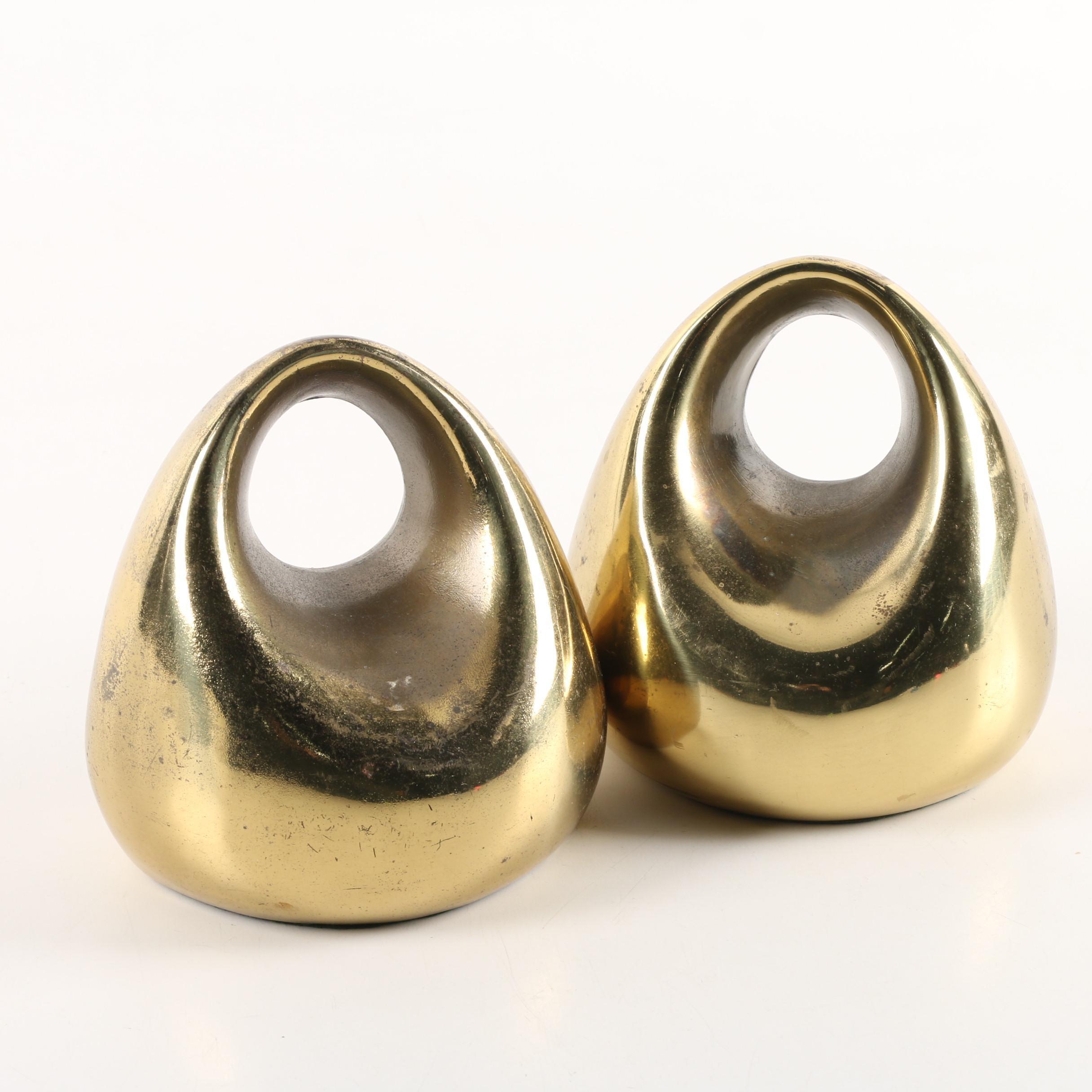 Ben Seibel Jenfred-Ware Mid-Century Brass Bookends