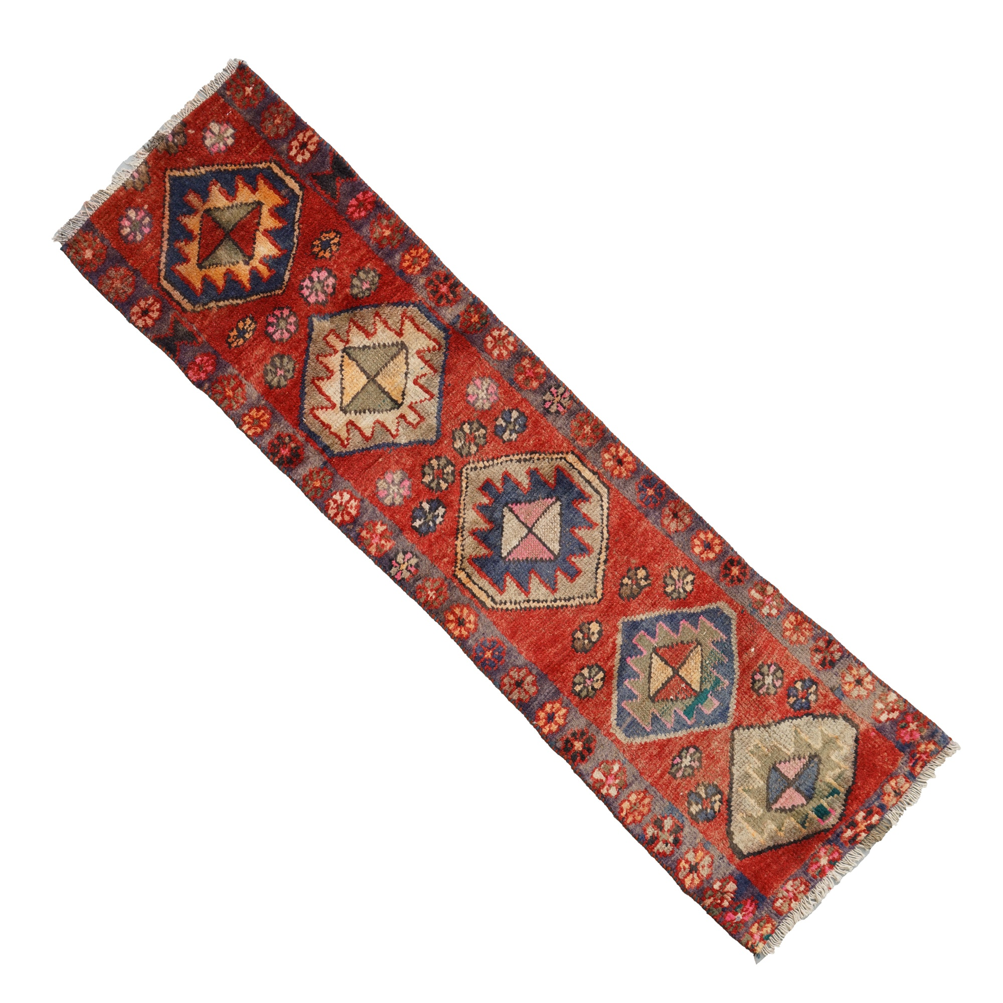 Vintage Hand-Knotted Kurdish Wool Carpet Runner