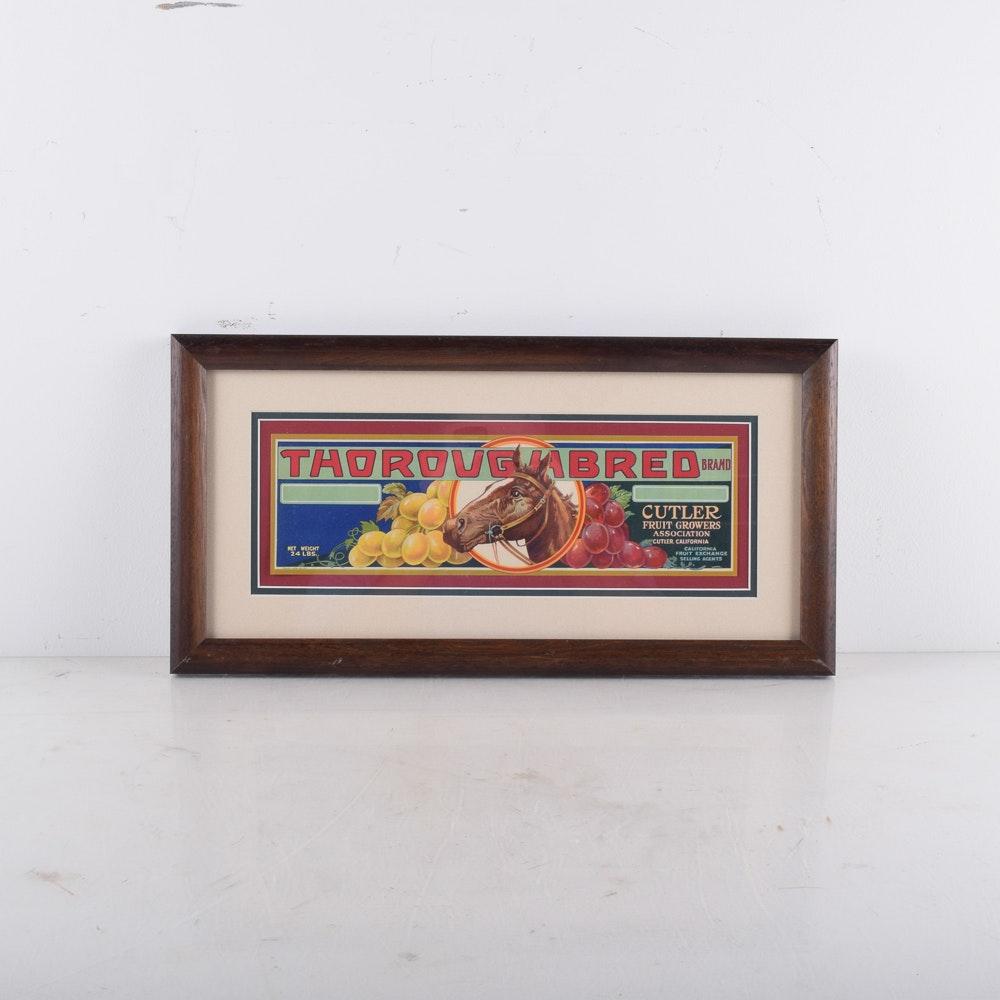 "Vintage Original ""Thoroughbred"" Fruit Crate Label"