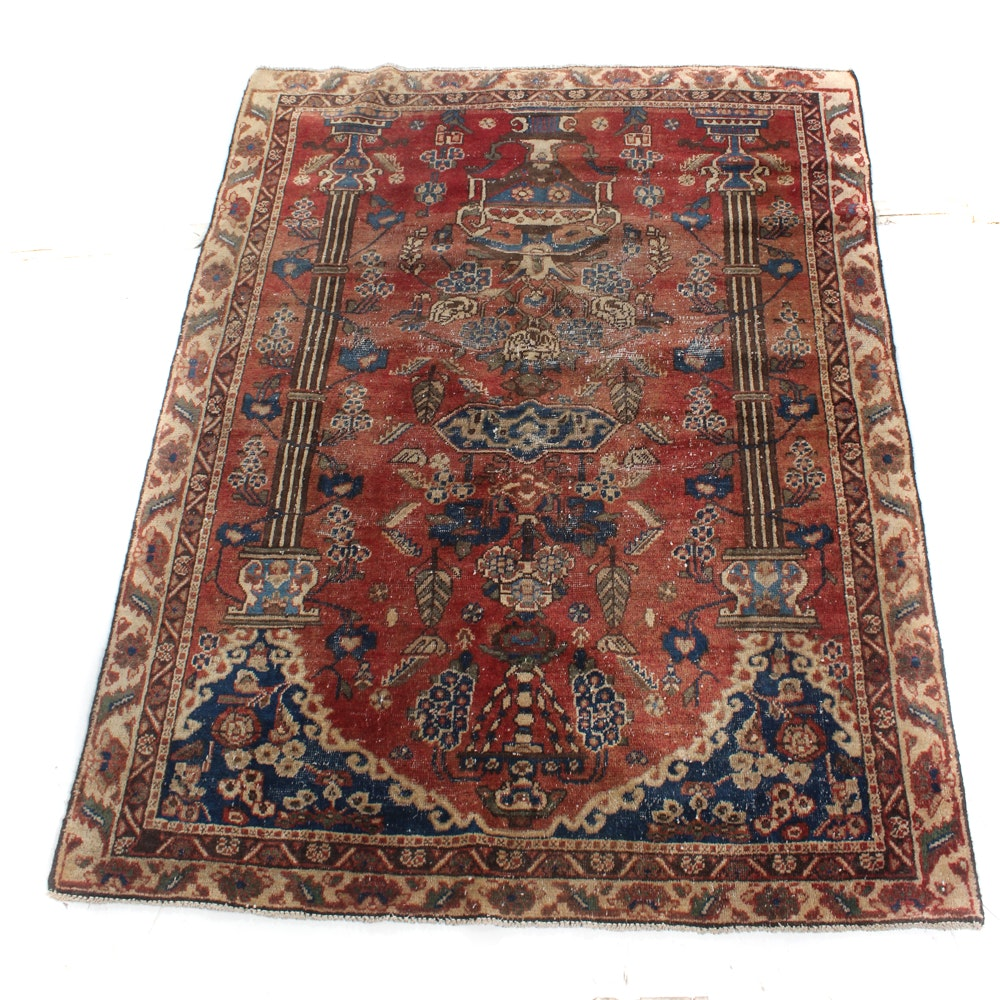 5' x 6' Hand-Knotted Persian Pictorial Qum Prayer Rug